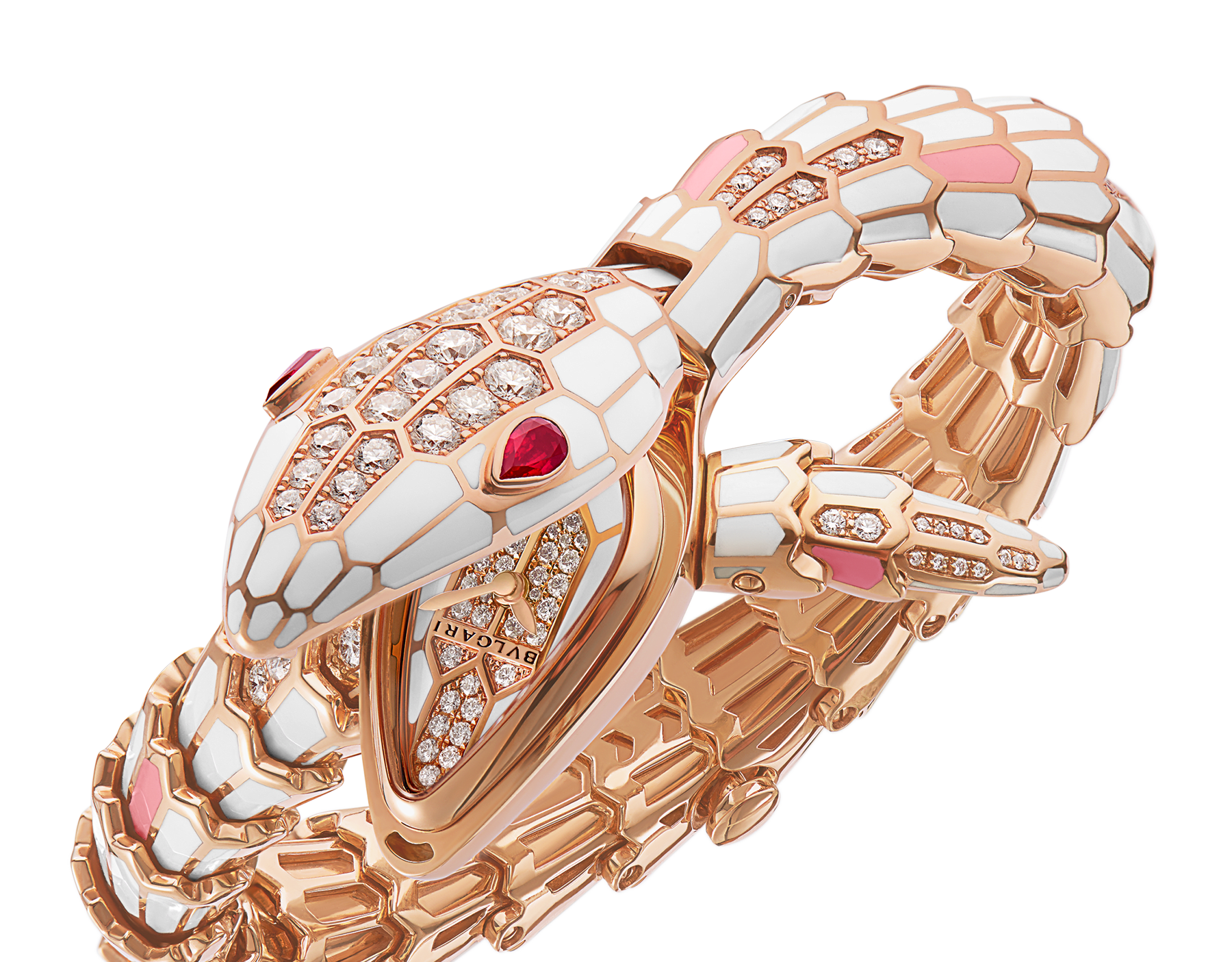Serpenti Secret Watch with 18 kt rose gold head coated with beige lacquer and set with pavé diamonds and ruby eyes, 18 kt rose gold case, 18 kt rose gold dial set with brilliant cut diamonds, 18 kt rose gold single spiral bracelet set with brilliant cut diamonds and coated with beige and pink lacquer. 102444 image 2