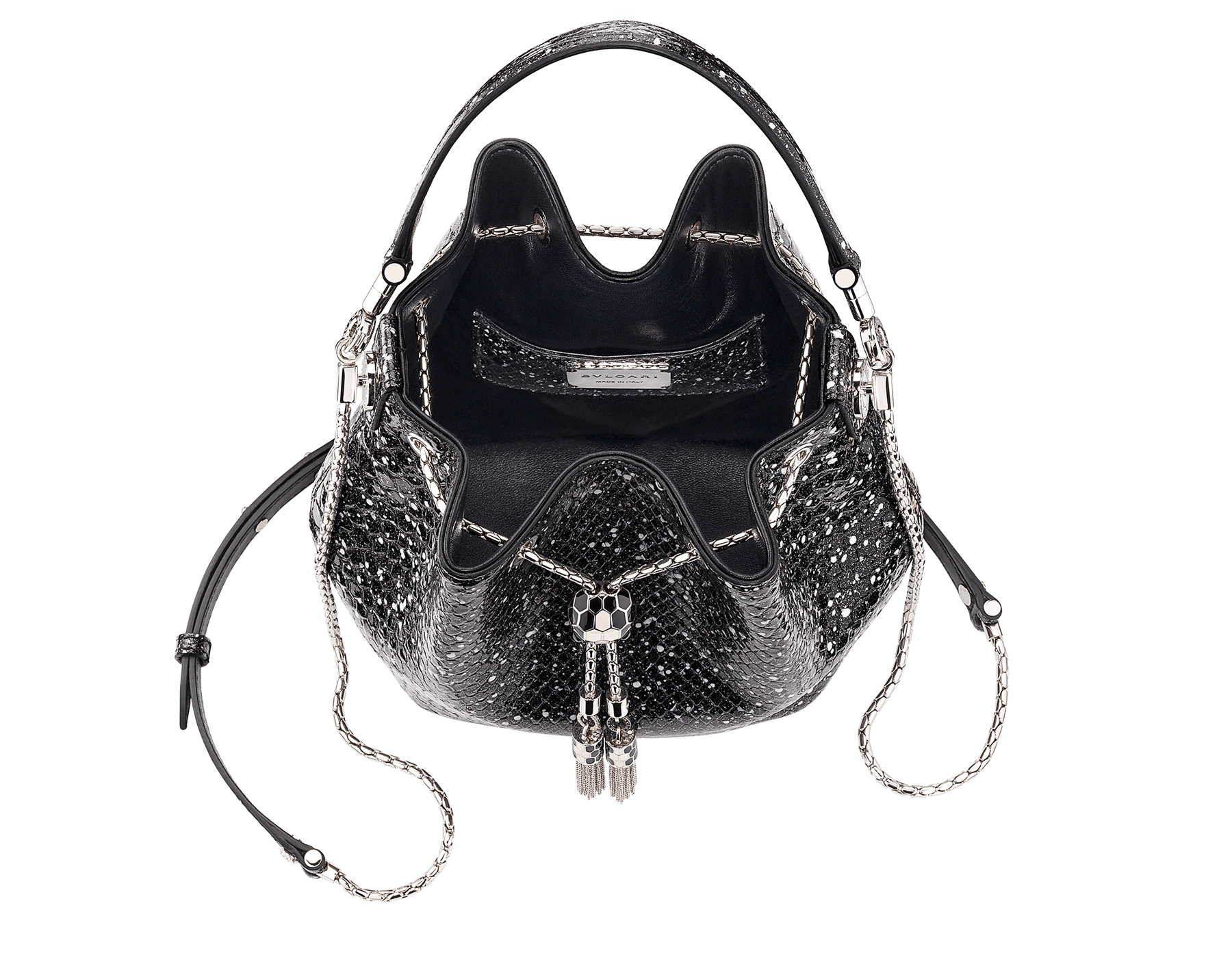 Serpenti Forever bucket bag in black and white Cosmic python skin and black nappa inner lining. Snakehead closure in palladium plated brass decorated with black and white enamel, and black onyx eyes. 288112 image 4