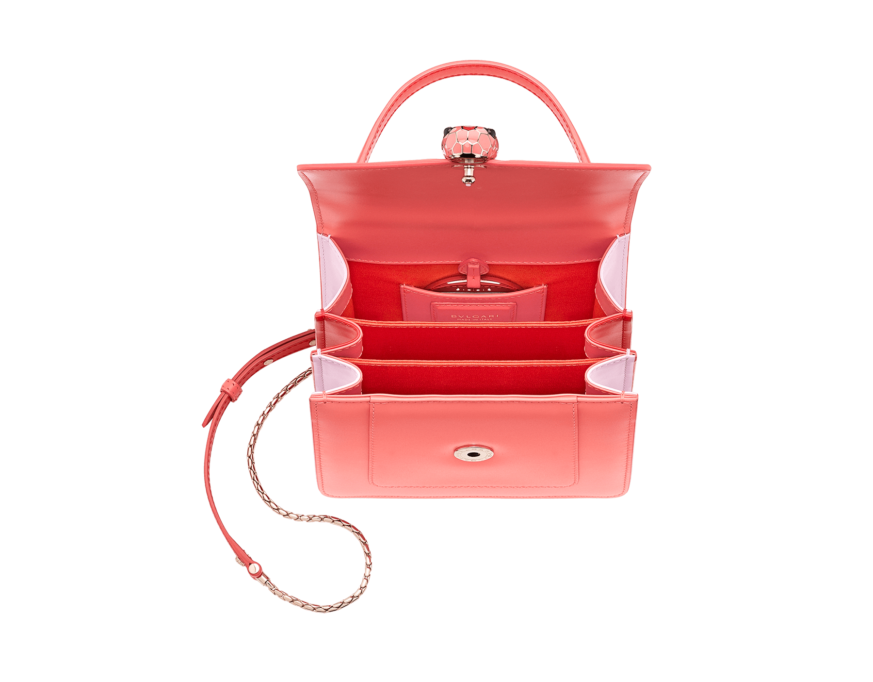 """Serpenti Forever "" crossbody bag with a silky coral calf leather body and rosa di francia and starfish calf leather sides. Iconic snakehead closure in light gold plated brass enriched with silky coral and starfish enamel and black onyx eyes. 288774 image 4"