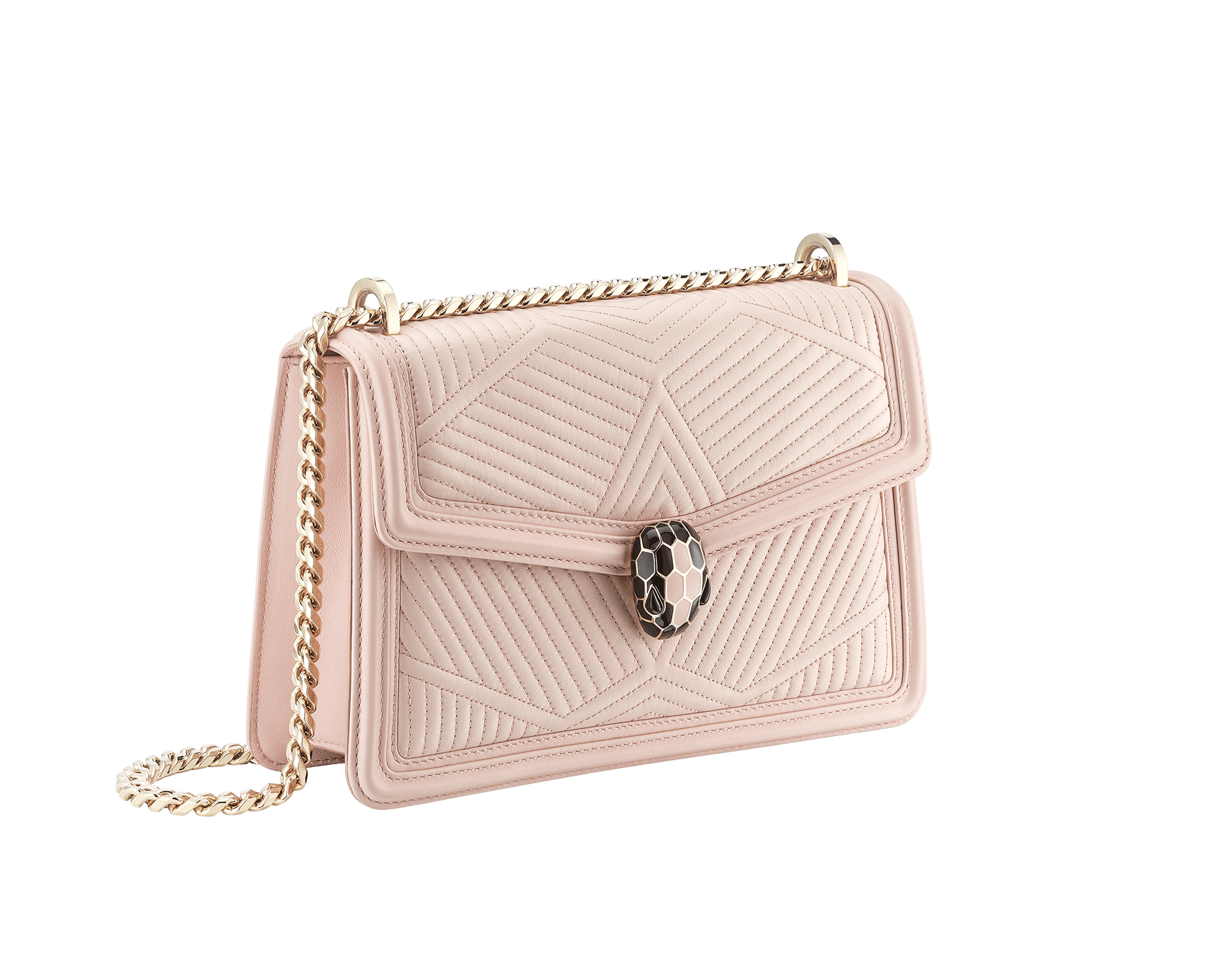 """Serpenti Diamond Blast"" shoulder bag in crystal rose quilted nappa leather body and crystal rose calf leather frames. Iconic snakehead closure in light gold plated brass enriched with black and crystal rose enamel and black onyx eyes 287331 image 3"