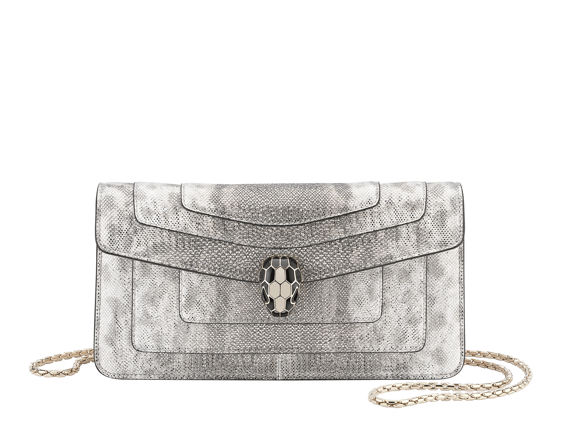 """Serpenti Forever"" shoulder bag in crystal rose metallic karung skin. Iconic snakehead closure in light gold plated brass enriched with black and glitter bronze enamel and black onyx eyes 486-MK image 1"