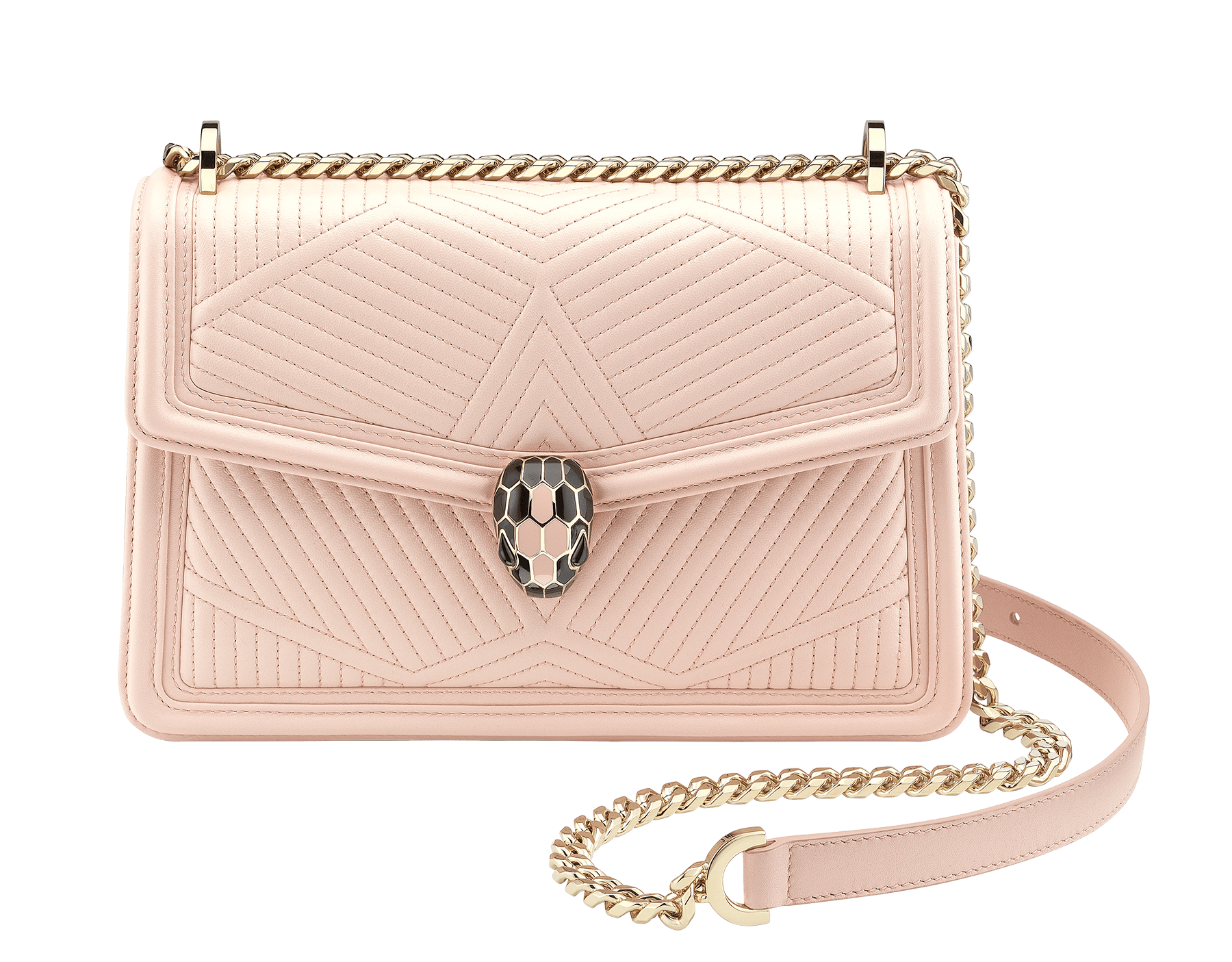 """Serpenti Diamond Blast"" shoulder bag in crystal rose quilted nappa leather body and crystal rose calf leather frames. Iconic snakehead closure in light gold plated brass enriched with black and crystal rose enamel and black onyx eyes 287331 image 1"