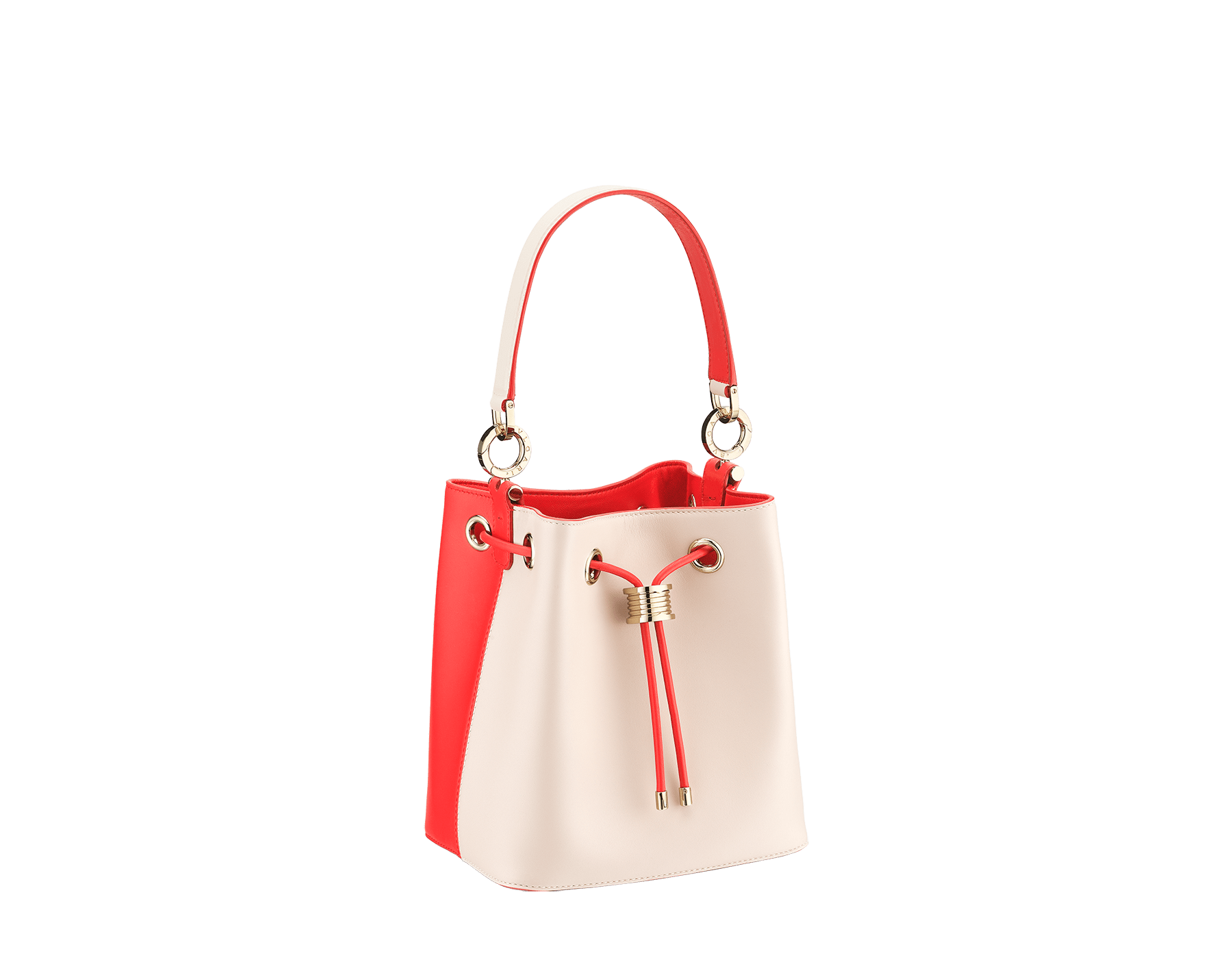 Bucket B.zero1 in milky opal and sea star coral smooth calf leather and sea star coral nappa internal lining. Hardware in light gold plated brass, featuring a B.zero1 décor. 288208 image 2