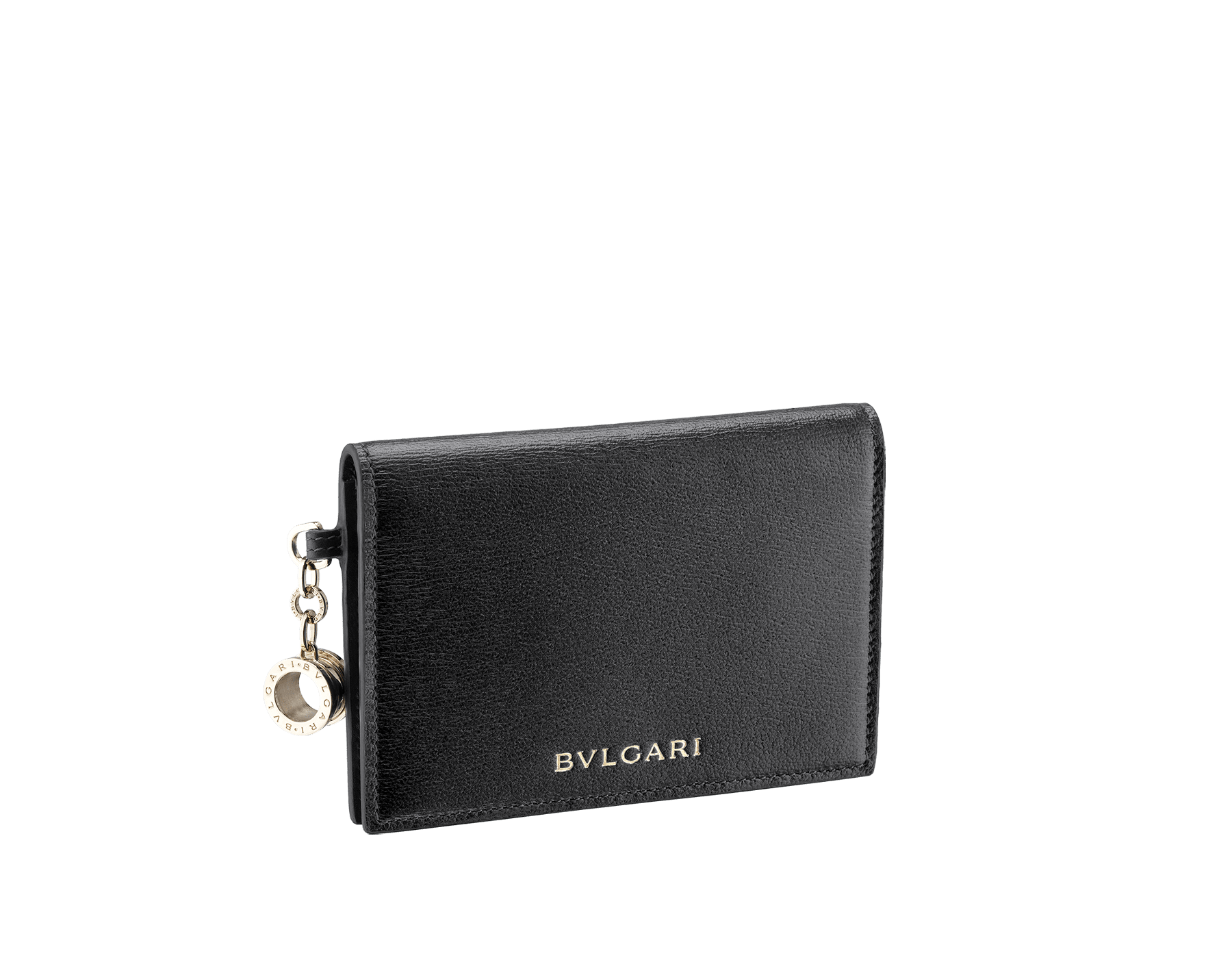 B.zero1 folded credit card holder in black goatskin. Iconic B.zero1 charm in light gold plated brass. 288236 image 1