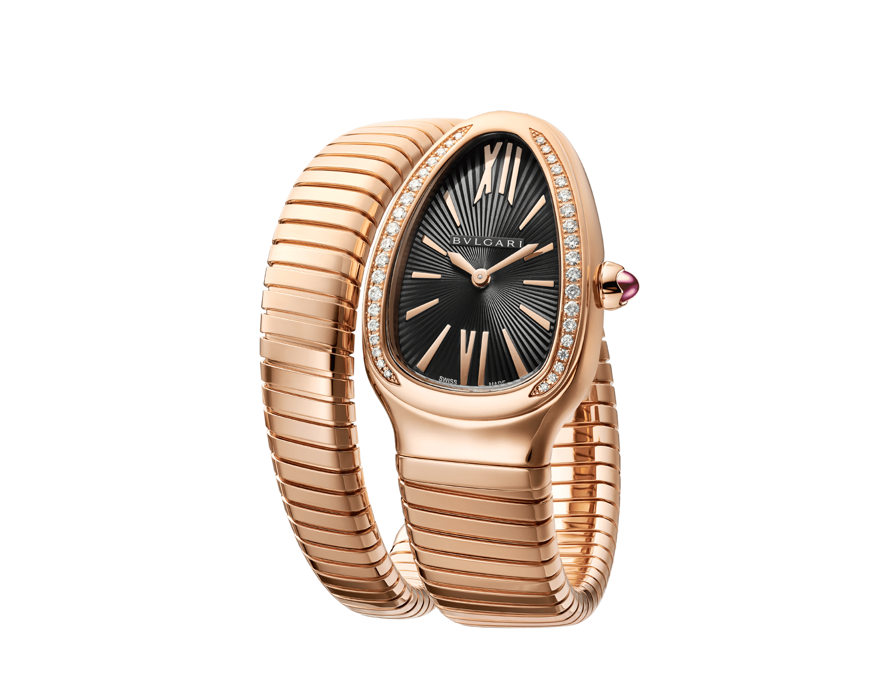 Serpenti Tubogas single spiral watch with 18 kt rose gold case set with brilliant cut diamond, black opaline dial and 18kt rose gold bracelet. 101815 image 2