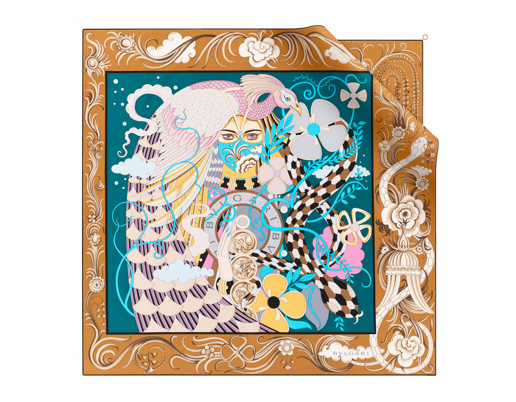 Lenço Salomé jade-profundo em fina sarja de seda. 243744 image 1