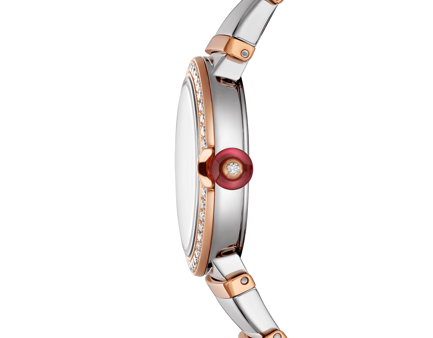 LVCEA watch with stainless steel case, 18 kt rose gold bezel set with brilliant-cut diamonds, white mother-of-pearl dial, diamond indexes and bracelet in stainless teel and 18 kt rose gold 102475 image 3