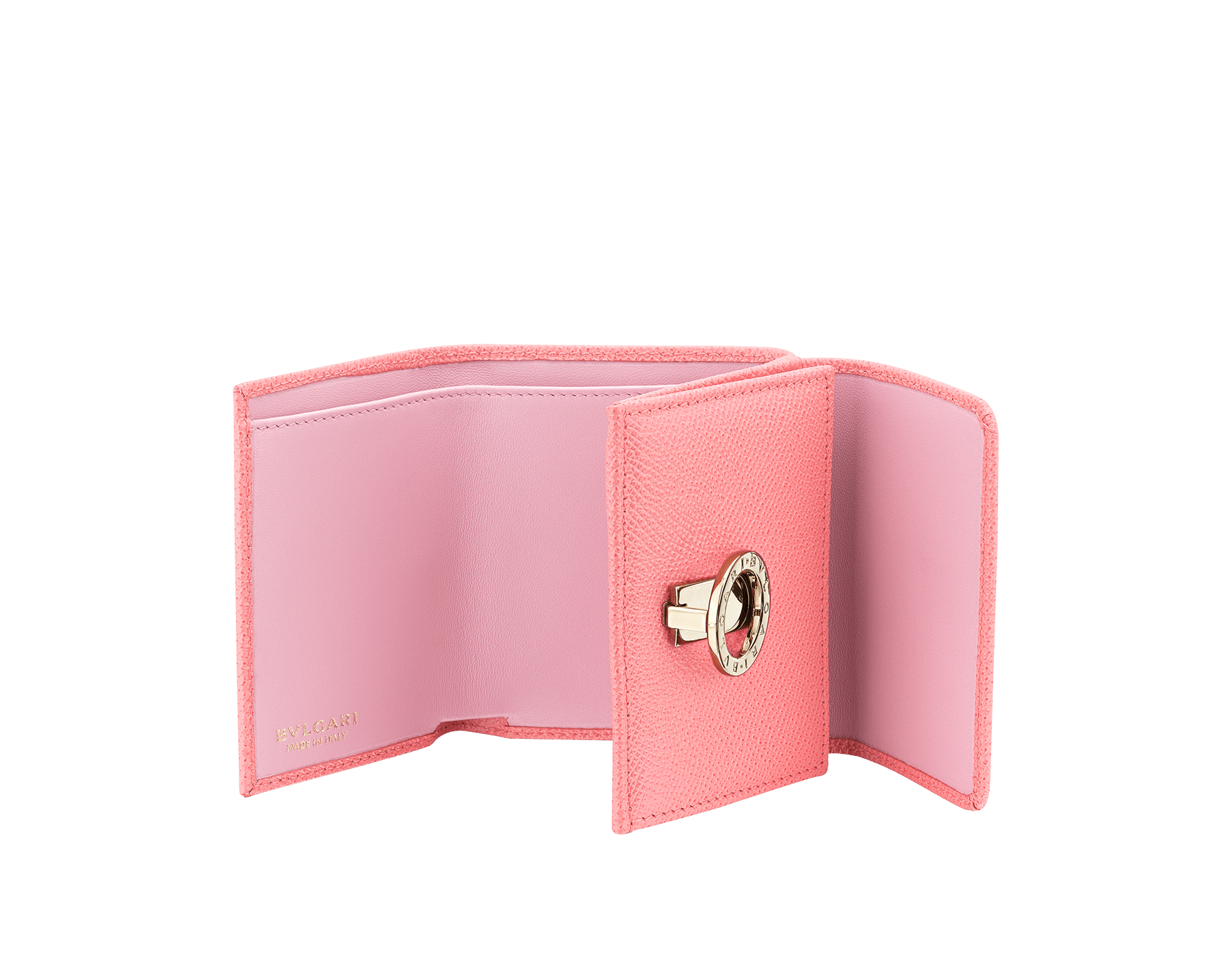 BVLGARI BVLGARI compact wallet in silky coral bright grain calf leather and flamingo quartz nappa leather. Iconic logo clip closure in light gold plated brass on the flap and press stud closure on the body. 289066 image 2