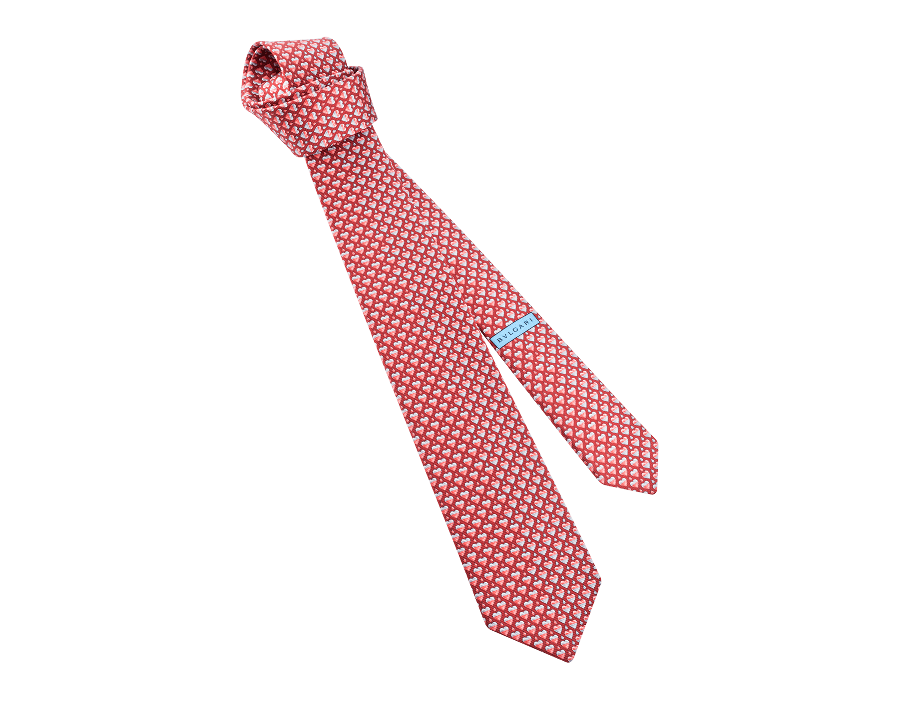 "Red ""Drop Heart"" seven-folds tie in fine saglione printed silk. DropHeart image 1"