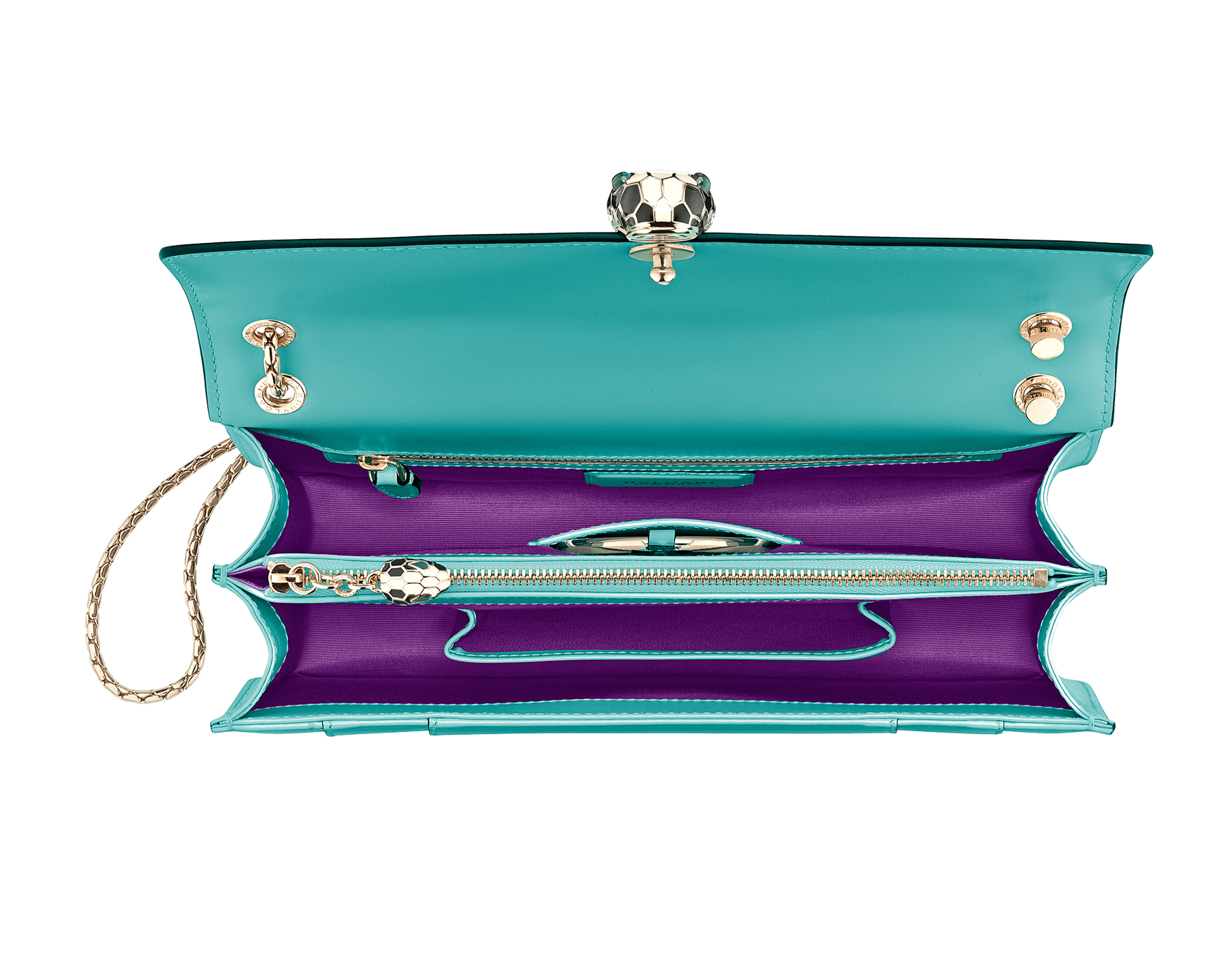 Serpenti Forever shoulder bag in arctic jade calf leather. Iconic snakehead closure in light gold plated brass embellished with black and white enamel and green malachite eyes. 288701 image 4