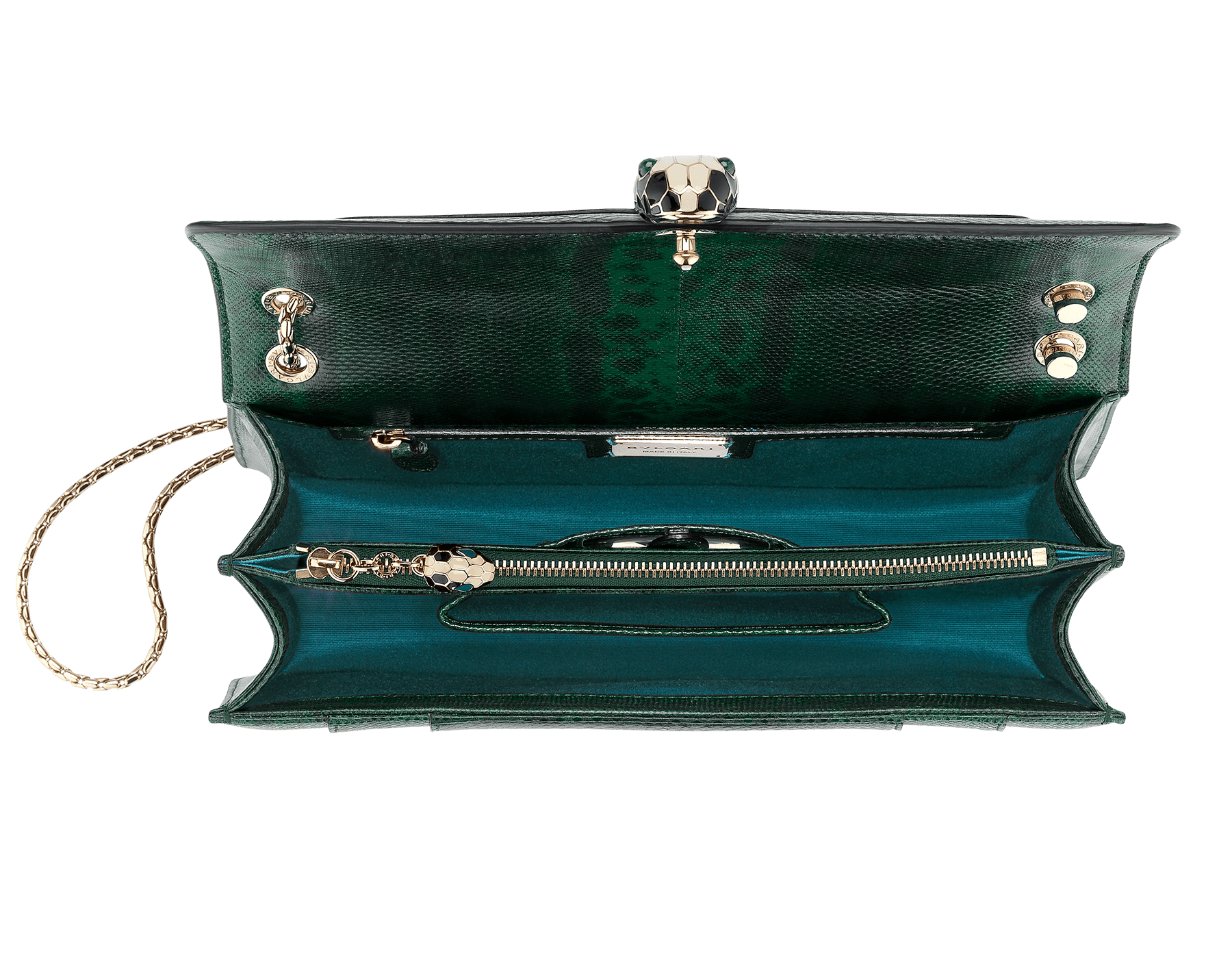 Flap cover bag Serpenti Forever in roman garnet shiny karung skin. Brass light gold plated tempting snake head closure in shiny black and white enamel, with eyes in green malachite. 521-SK image 4