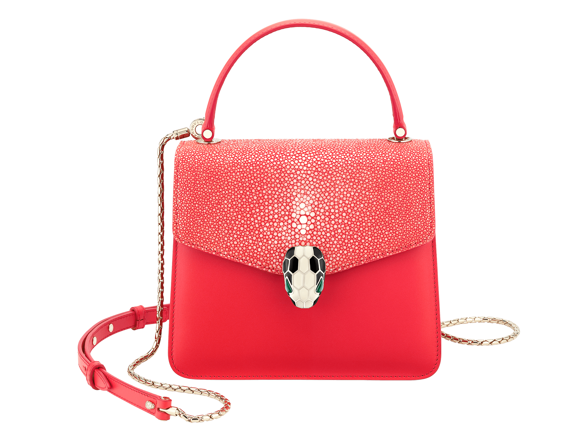 Serpenti Forever crossbody bag in sea star coral galuchat skin and smooth calf leather. Snakehead closure in light gold plated brass decorated with black and white enamel, and green malachite eyes. 287977 image 1