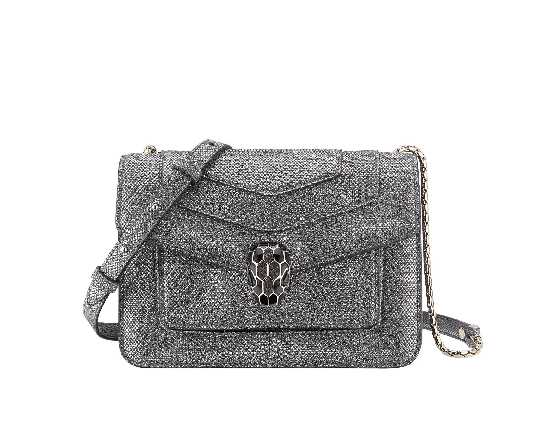"""Serpenti Forever"" crossbody bag in charcoal diamond metallic karung skin. Iconic snakehead closure in light gold plated brass enriched with black and glitter hawk's eye enamel and black onyx eyes. 1082-MK image 1"