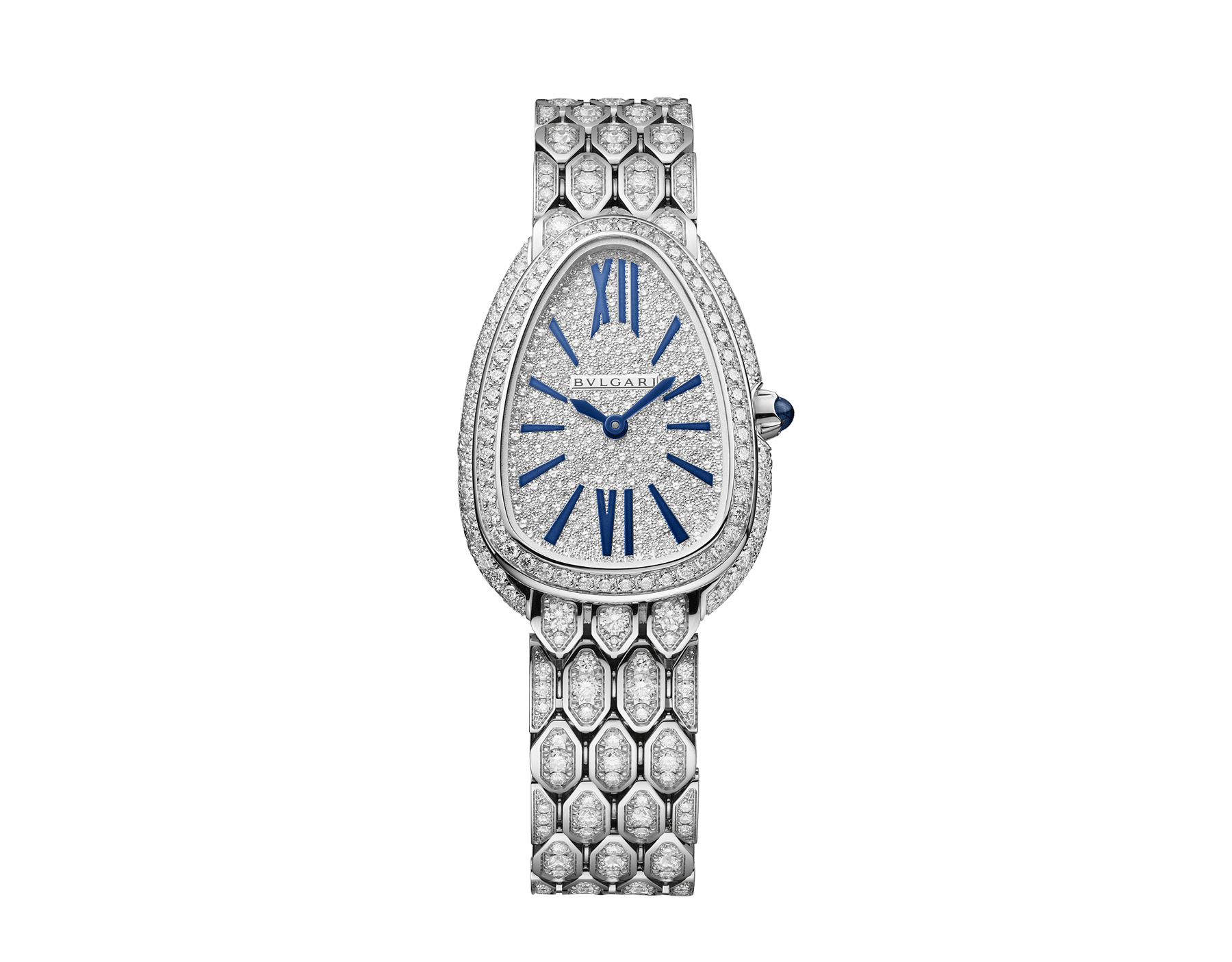Serpenti Seduttori watch with 18 kt white gold case and bracelet both set with diamonds, full pavé dial and blue hands and indexes 103159 image 1