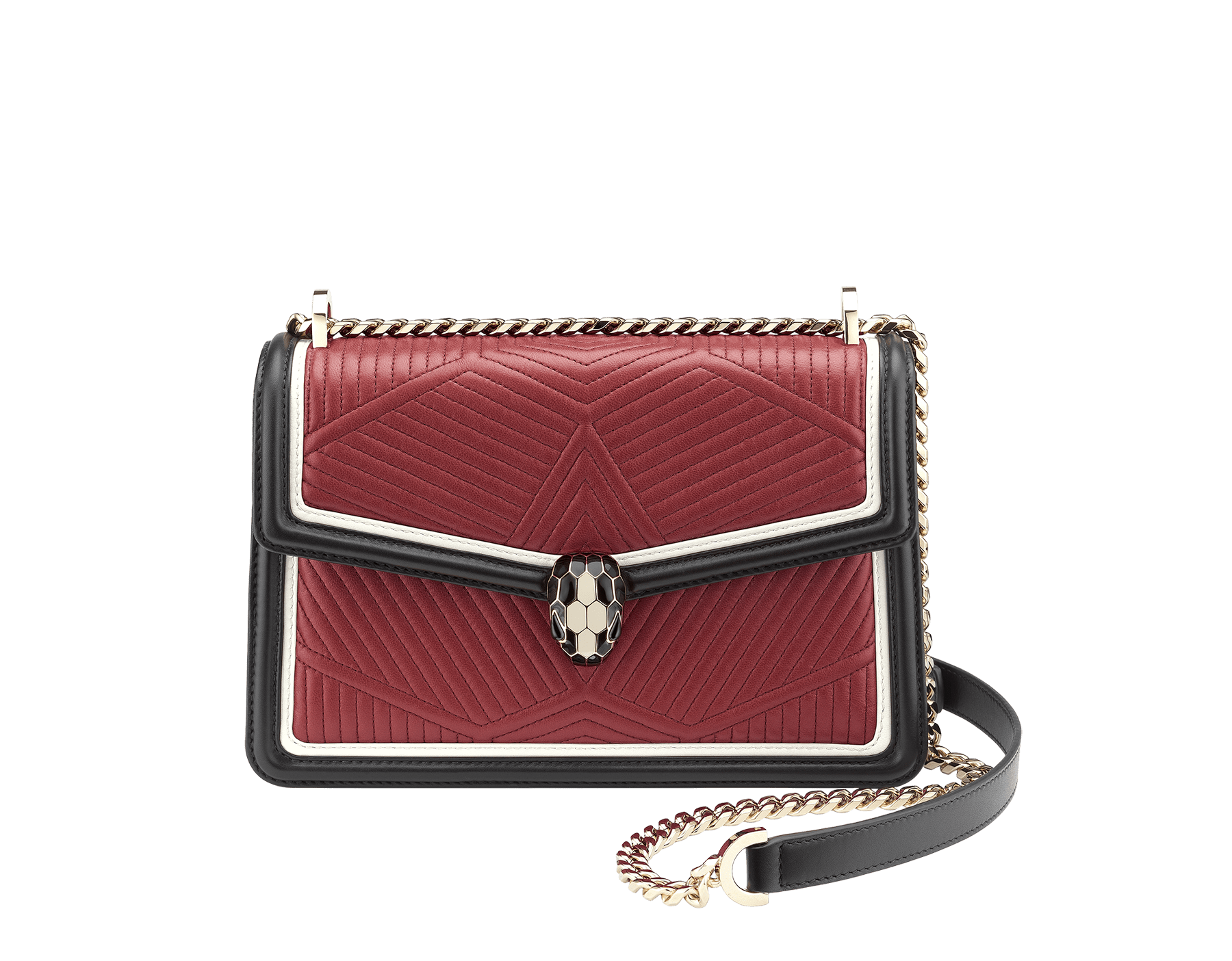 Shoulder bag Serpenti Forever featuring a Framed Quilted motif in roman garnet nappa and black smooth calf leather. Brass light gold plated tempting snake head closure in black and white enamel, with eyes in black onyx. 286628 image 2