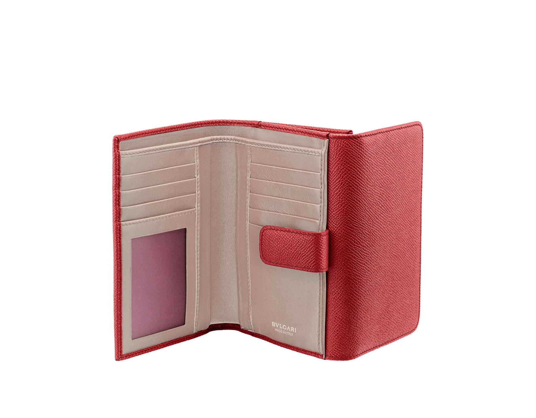 Compact pochette in ruby red bright grain calf leather, desert quartz nappa and fuxia nappa lining. Brass light gold plated hardware and iconic BVLGARI BVLGARI closure clip. 281454 image 2