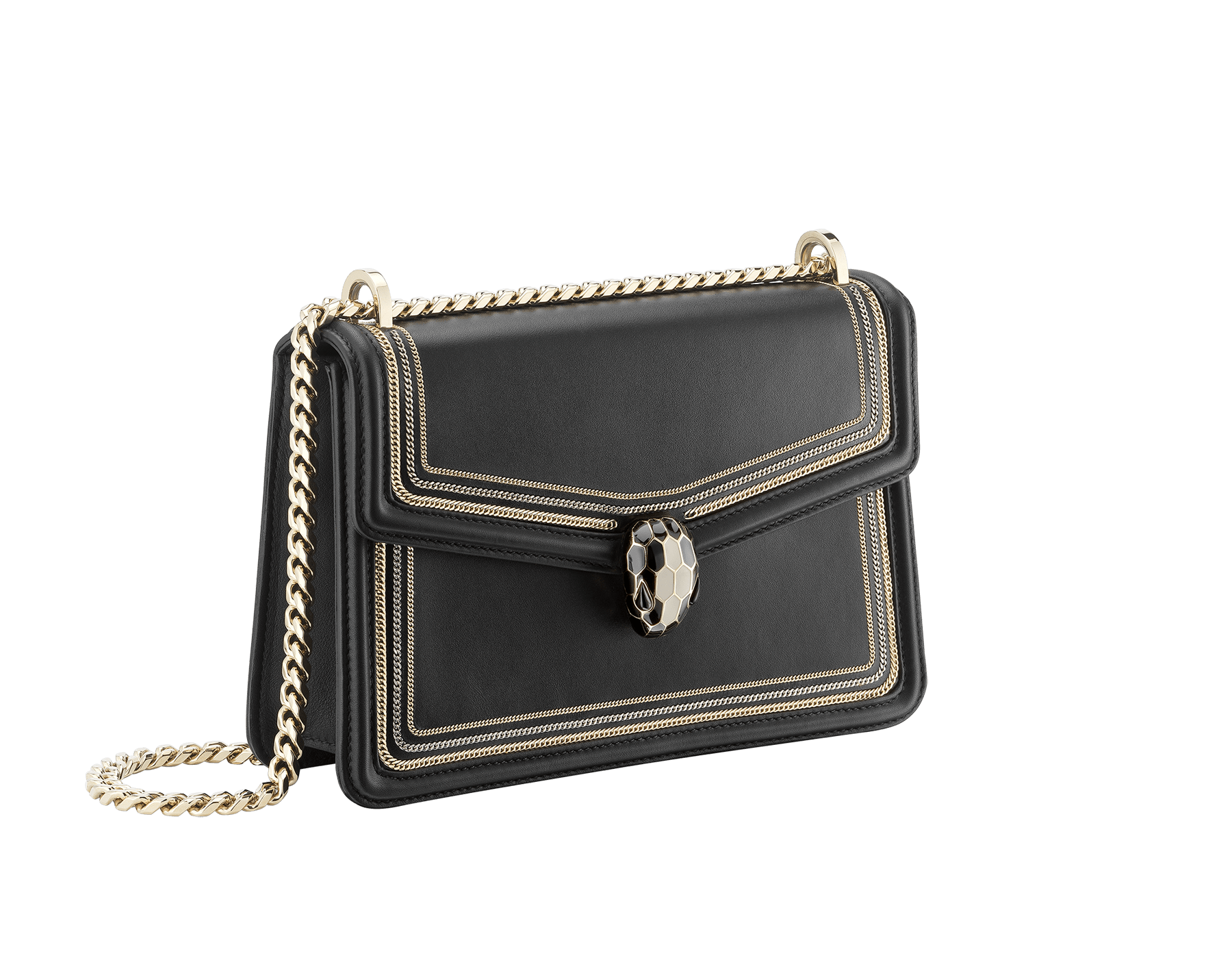 """Serpenti Diamond Blast"" shoulder bag in black smooth calf leather, featuring a 3-Chain motif in light gold and palladium finishing. Iconic snakehead closure in light gold plated brass enriched with black and white enamel and black onyx eyes 922-3CFCL image 2"