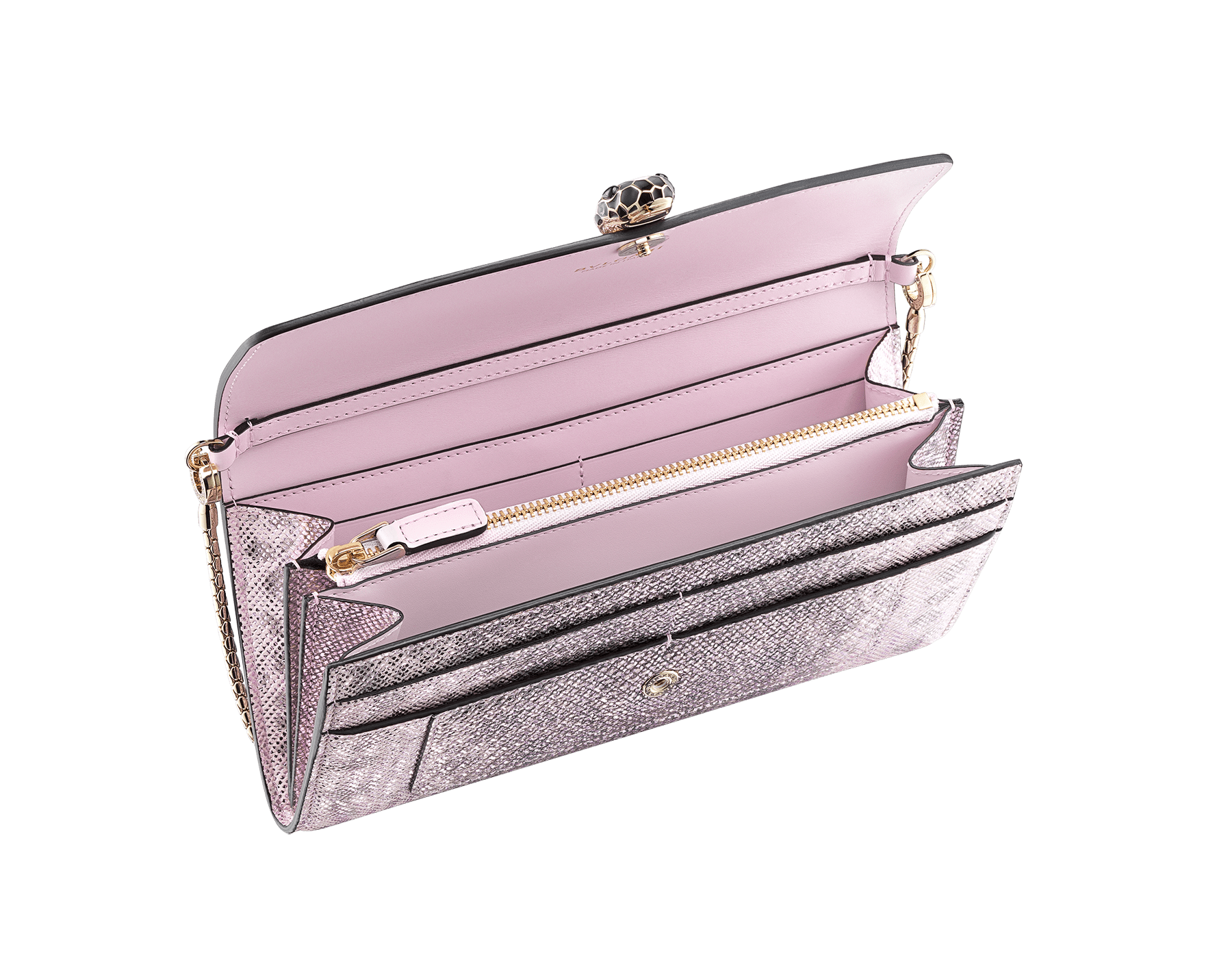 Serpenti Forever wallet pouch in rosa di francia metallic karung skin and rosa di francia calf leather. Iconic snakehead charm in black and rosa di francia enamel, with black onyx eyes. SEA-WLT-LONGCHAIN-MK image 2