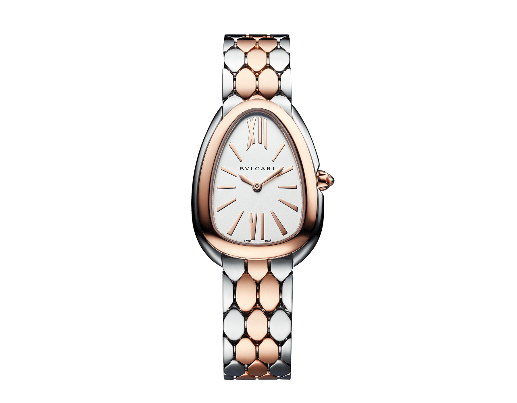 Serpenti Seduttori watch in stainless steel and 18 kt rose gold case and bracelet, with white silver opaline dial 103277 image 1