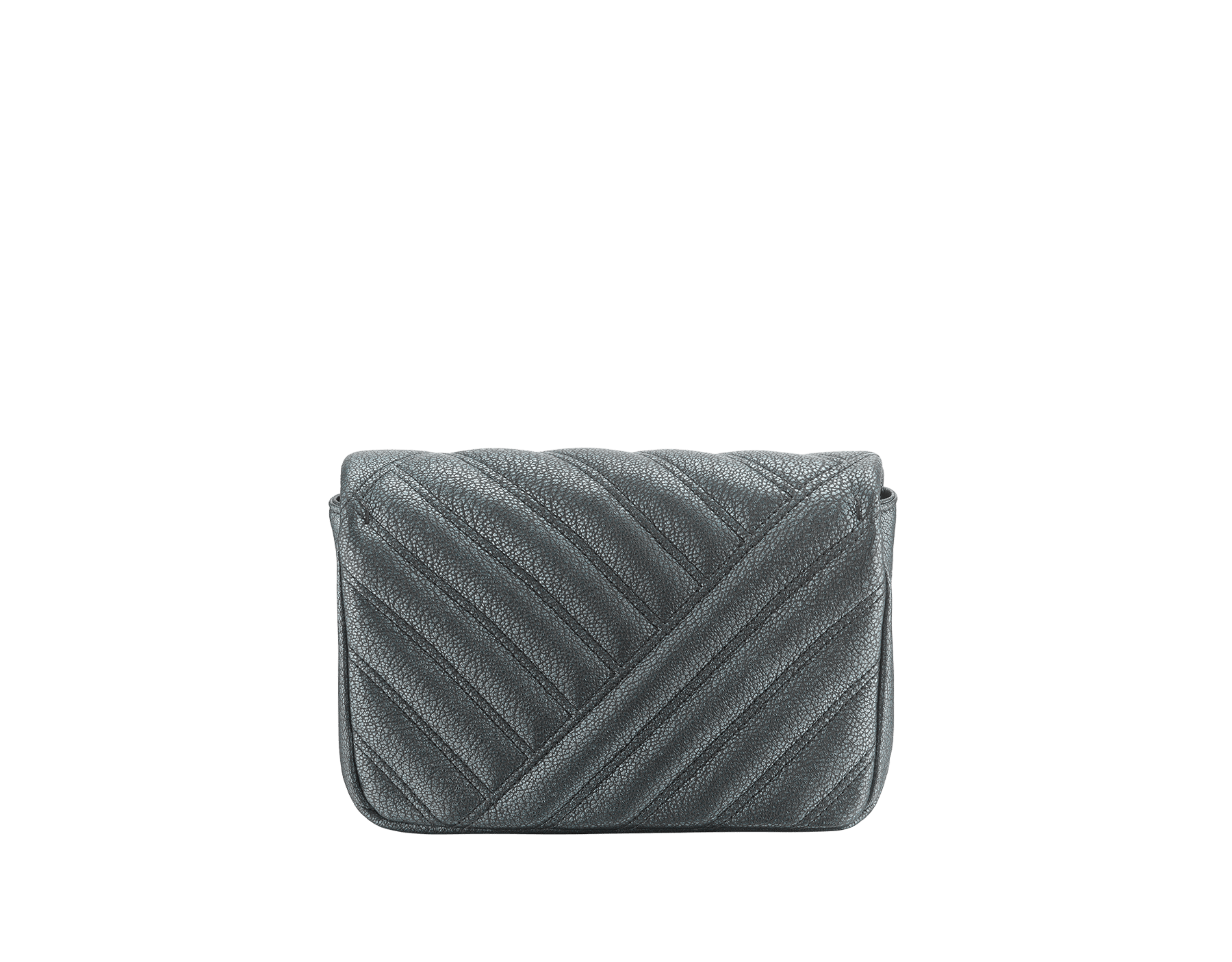 """Serpenti Cabochon"" crossbody mini bag in soft matelassé charcoal diamond goatskin with a pearled effect and a graphic motif. Brass palladium plated tempting snakehead closure in matte and shiny black enamel and black onyx eyes. 290276 image 3"