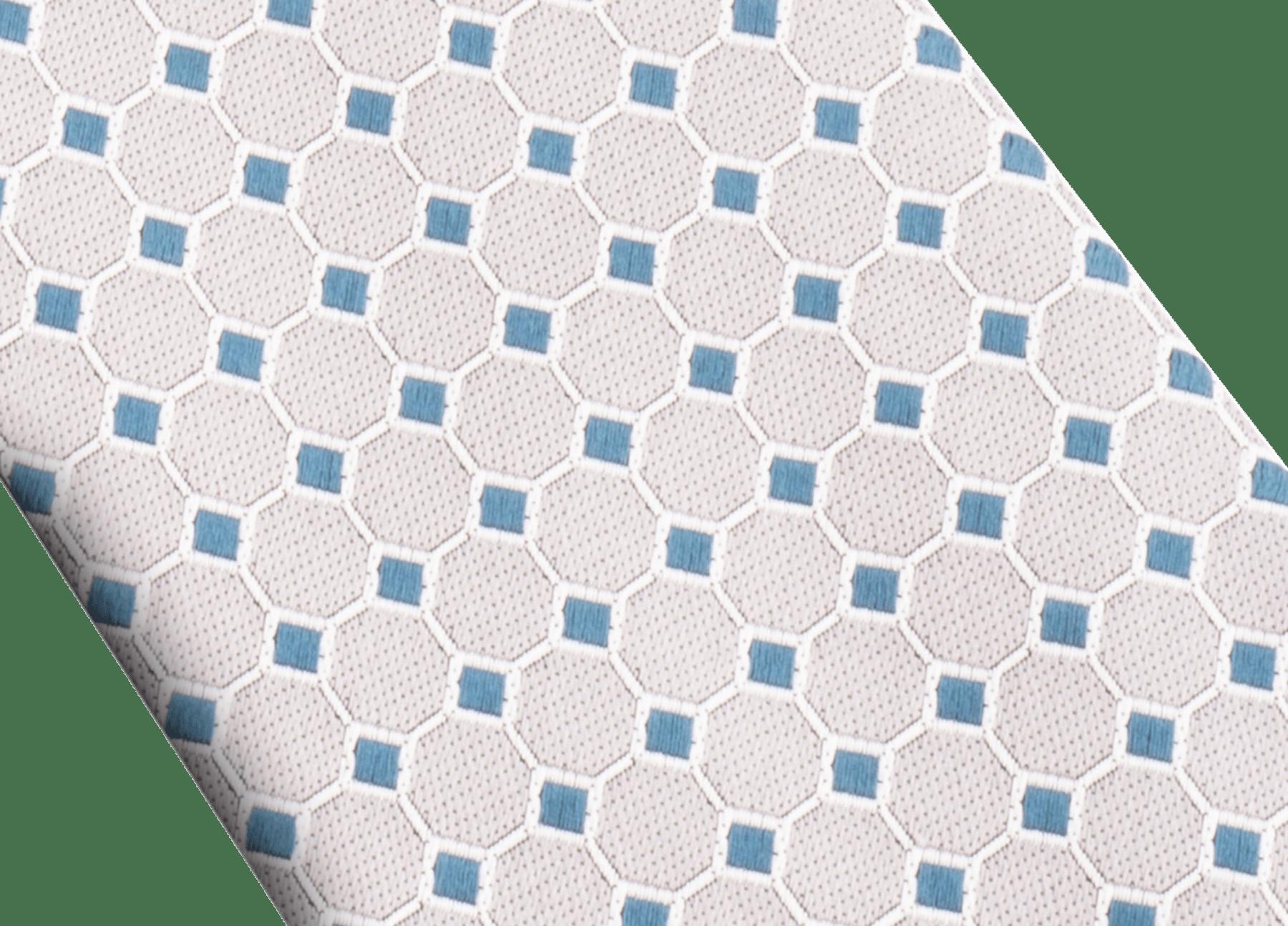 Cravatta grigia con motivo Double Logo Octo in seta pregiata. 244139 image 2