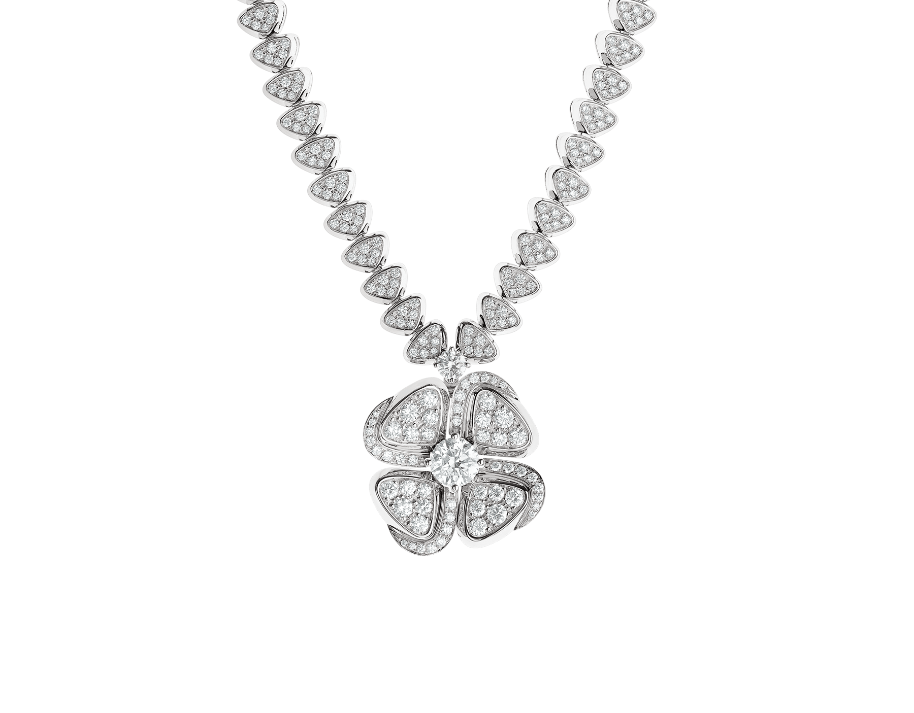 Fiorever 18 kt white gold necklace set with a central diamond (0.70 ct) and pavé diamonds 357377 image 1