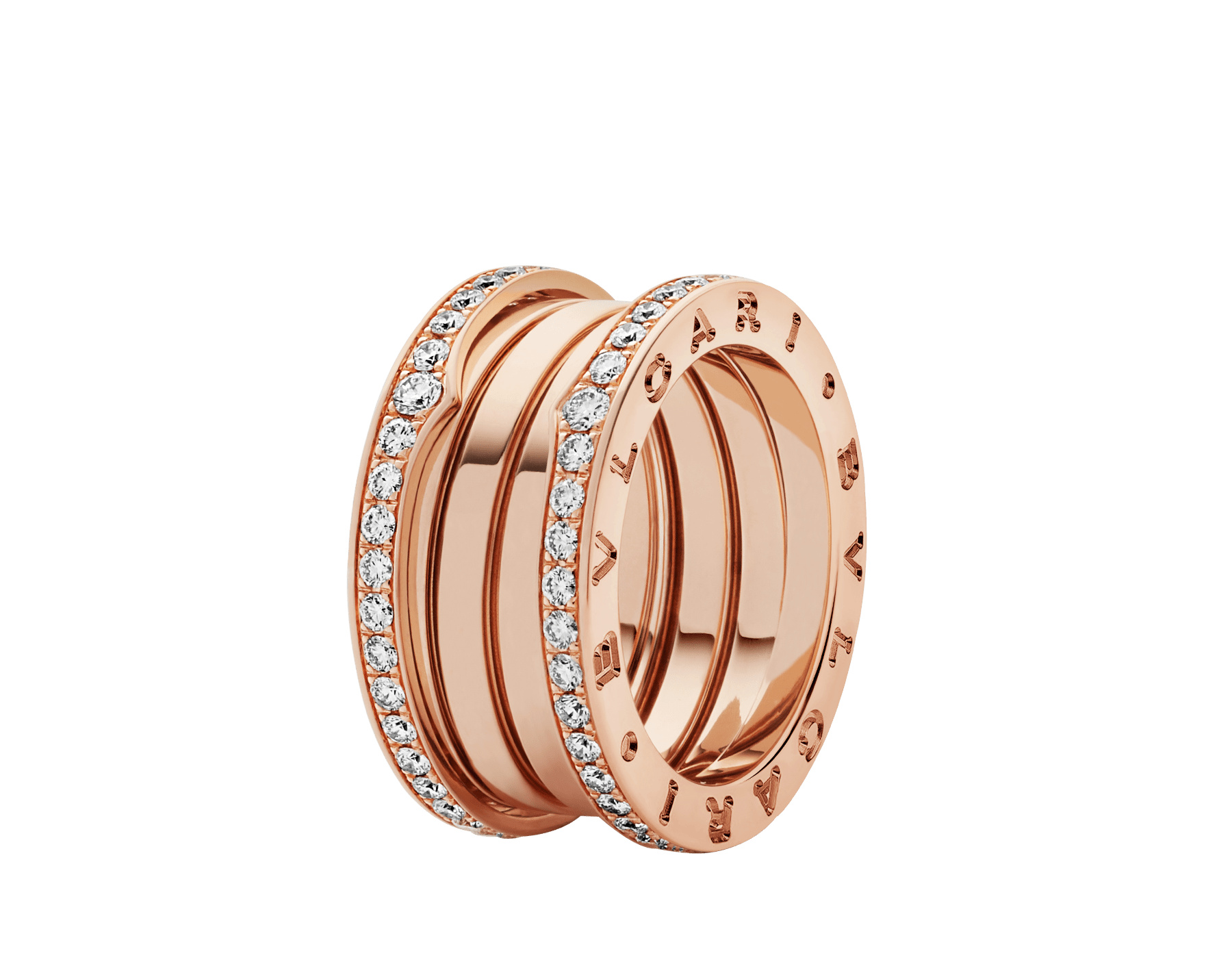 B.zero1 four-band ring in 18 kt rose gold set with pavé diamonds on the edges. B-zero1-4-bands-AN856293 image 1