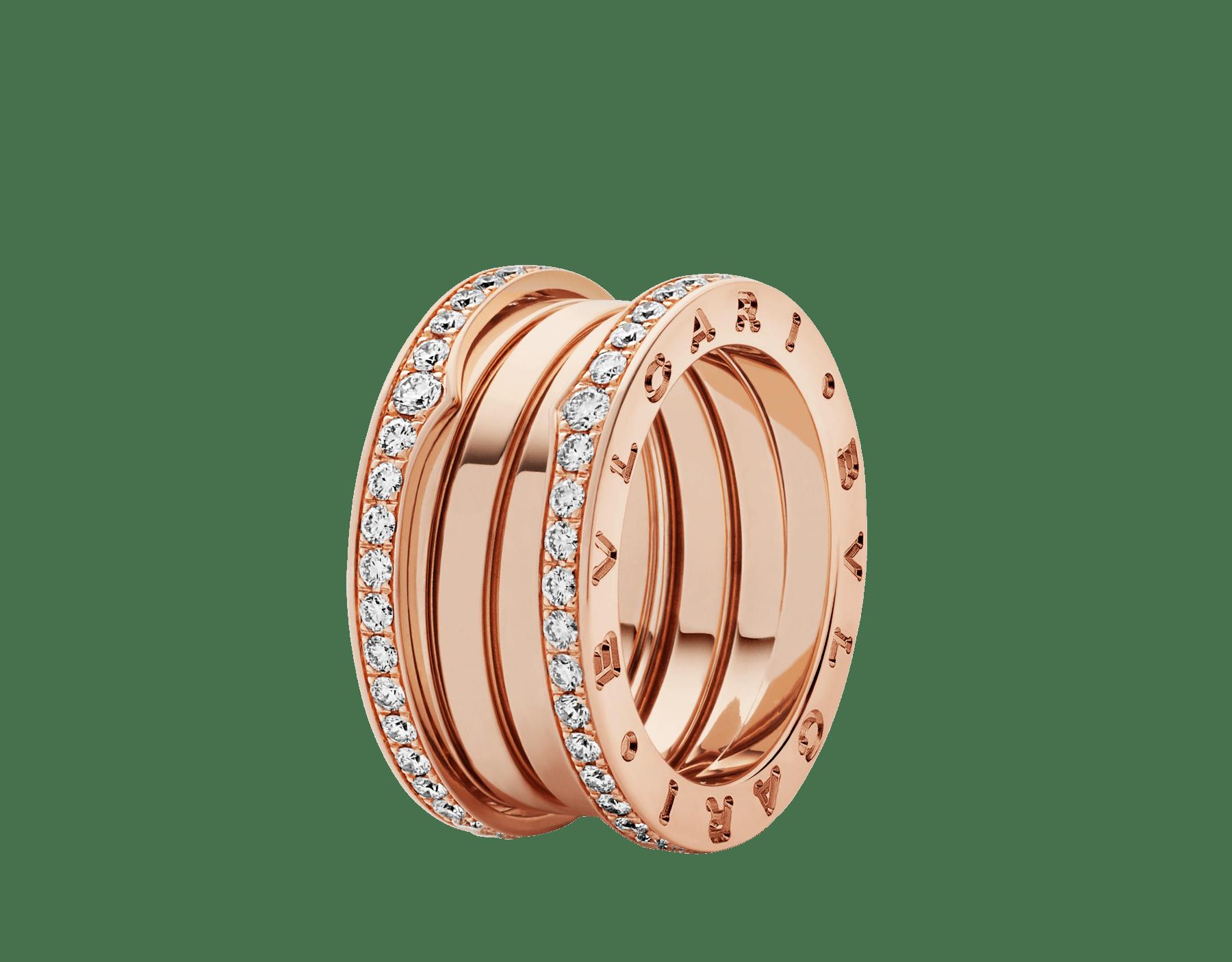 Fundindo o caráter ousado de suas curvas fluidas com a preciosidade de diamantes cravejados, o anel B.zero1 revela um espírito versátil e uma elegância contemporânea. B-zero1-4-bands-AN856293 image 1