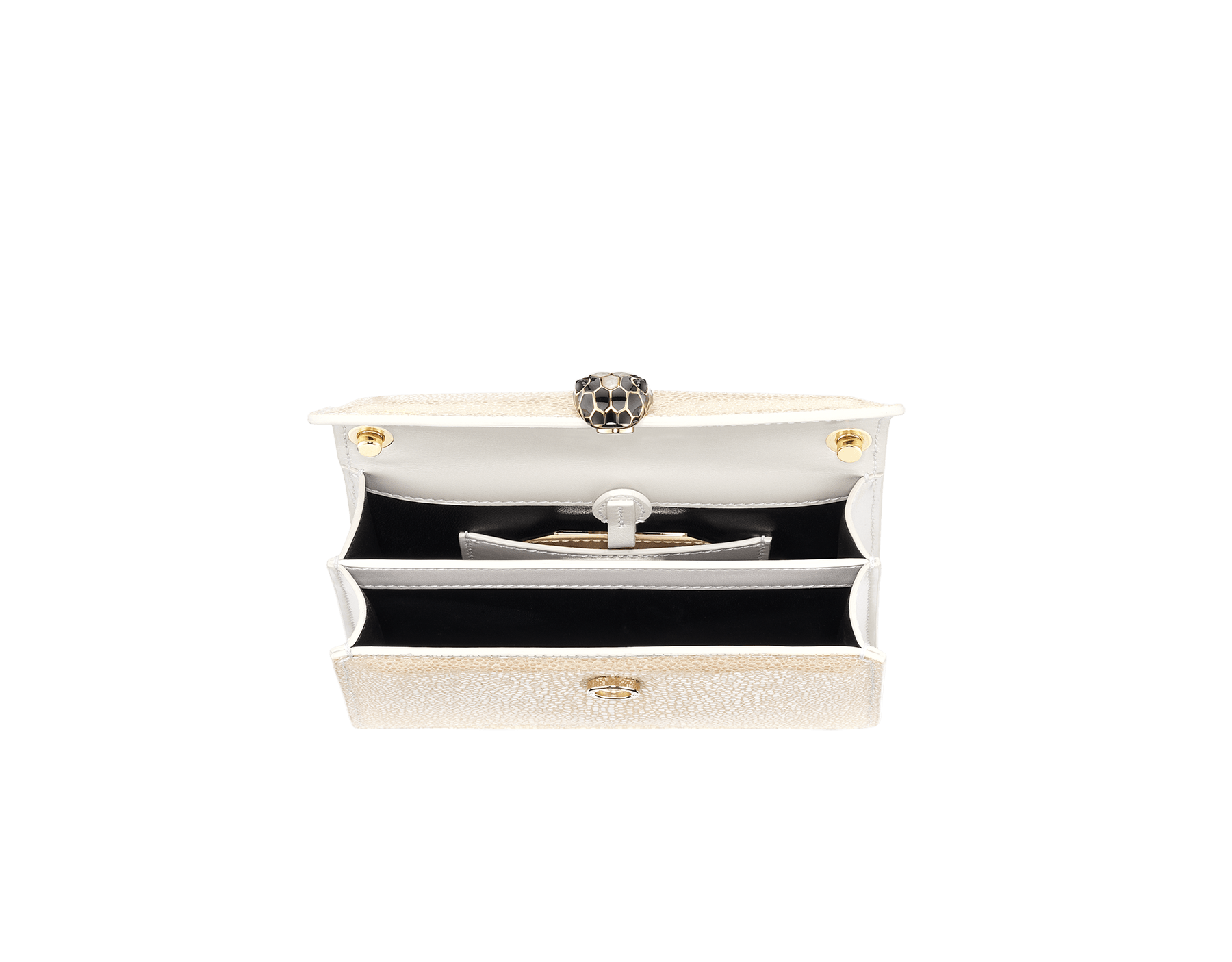 """Serpenti Forever"" mini crossbody bag in pearly, iridescent Milky Opal beige galuchat skin with agate-white calfskin edges and black nappa leather inner lining. Alluring snakehead closure in light gold-plated brass enriched with black and pearly, agate-white enamel and black onyx eyes. 289938 image 2"