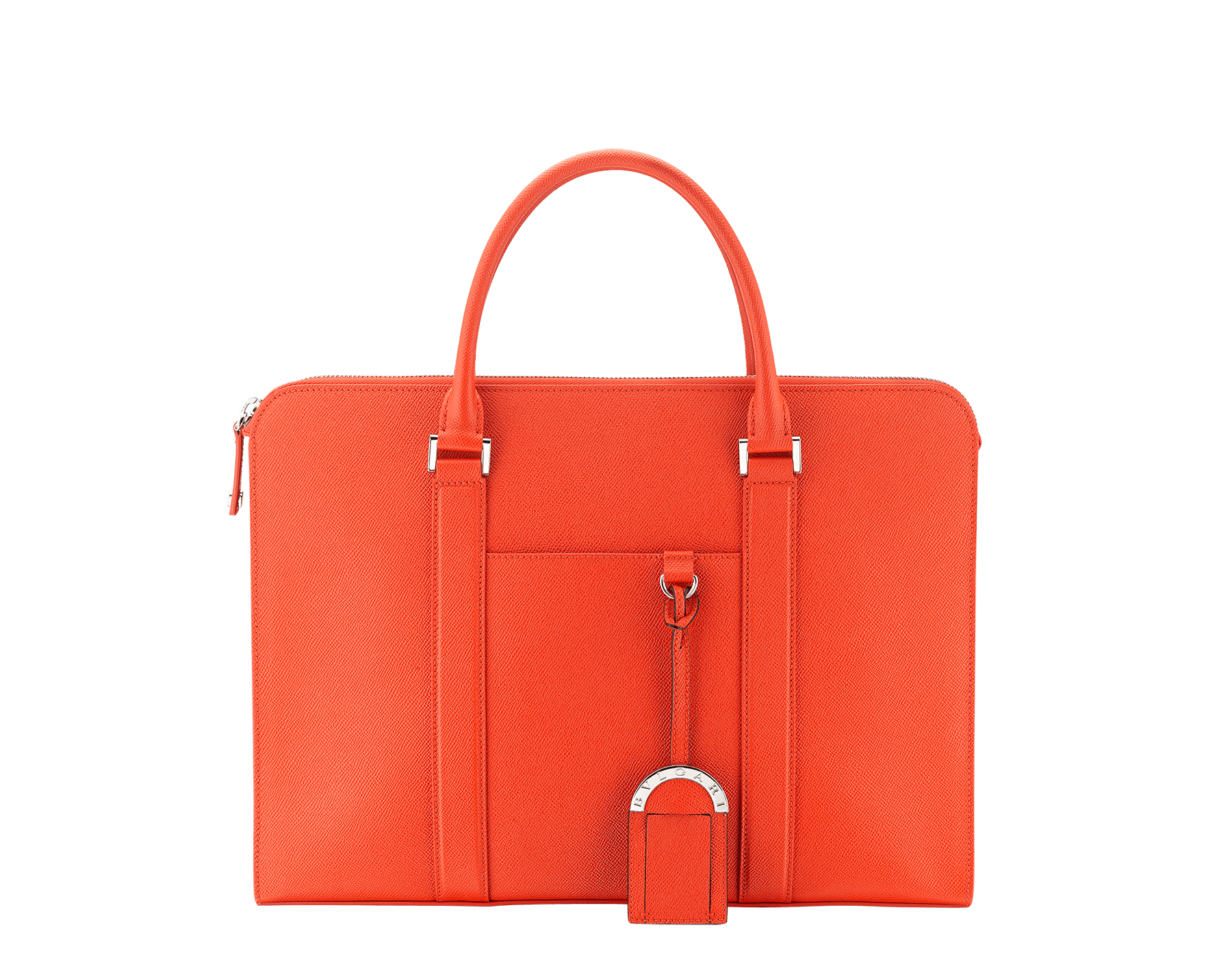 BVLGARI BVLGARI zipped briefcase in fire amber grain calf leather and black nappa lining, with brass palladium plated hardware. 289322 image 1