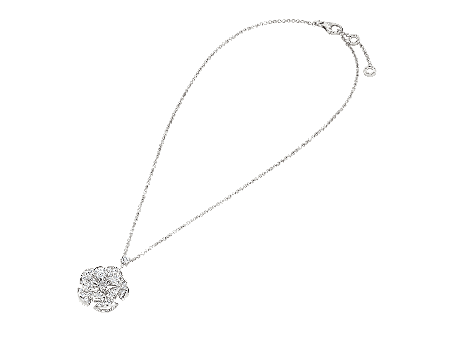 DIVAS' DREAM necklace in 18 kt white gold with a diamond on the chain and 18 kt white gold pendant set with central diamond and full pavé diamonds. 350854 image 2