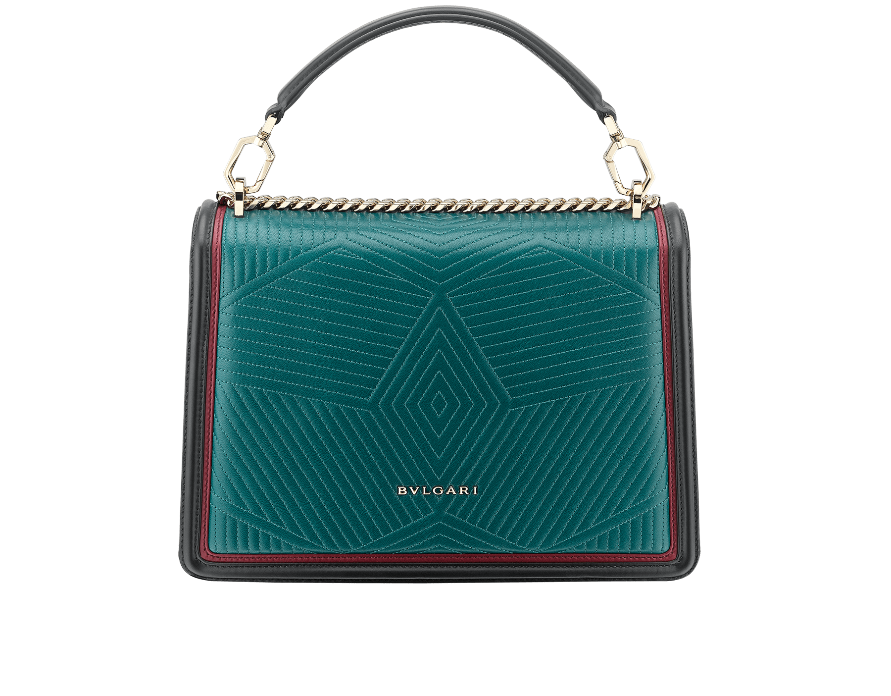 """Serpenti Diamond Blast"" shoulder bag in deep jade quilted nappa leather body and roman garnet and black calf leather frames. Iconic snakehead closure in light gold plated brass enriched with deep jade and black enamel and black onyx eyes. 287973 image 3"