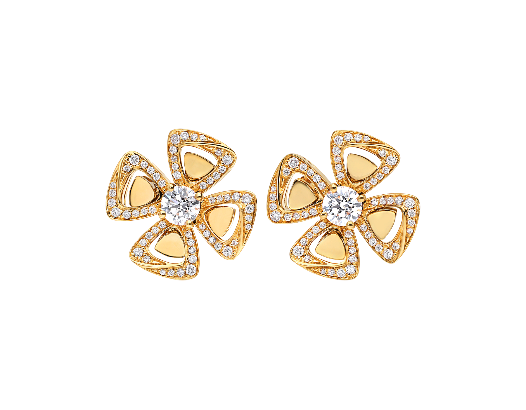 Fiorever 18 kt yellow gold stud earrings, set with two central diamonds and pavé diamonds. 357500 image 1
