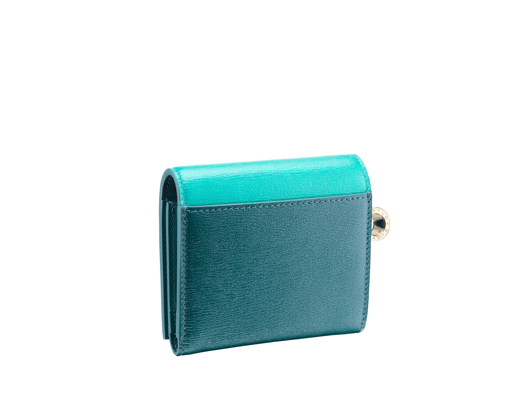 B.zero1 super compact wallet in tropical turquoise and deep jade goatskin. Iconic B.zero1 charm in light gold plated brass. 288242 image 3