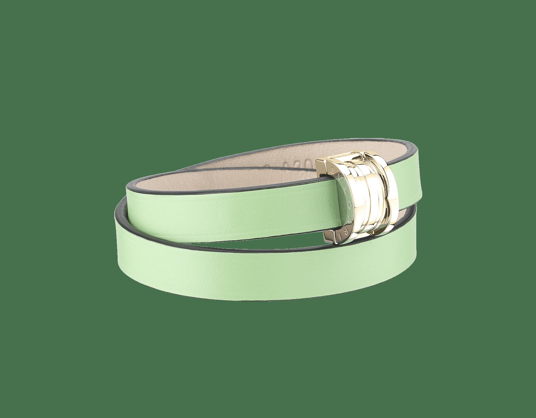 Браслет в два витка Bvlgari Bvlgari, кожа теленка мятно-зеленого цвета, застежка-кнопка B.Zero1 из латуни с покрытием из светлого золота. BZERO1-CL-M image 1