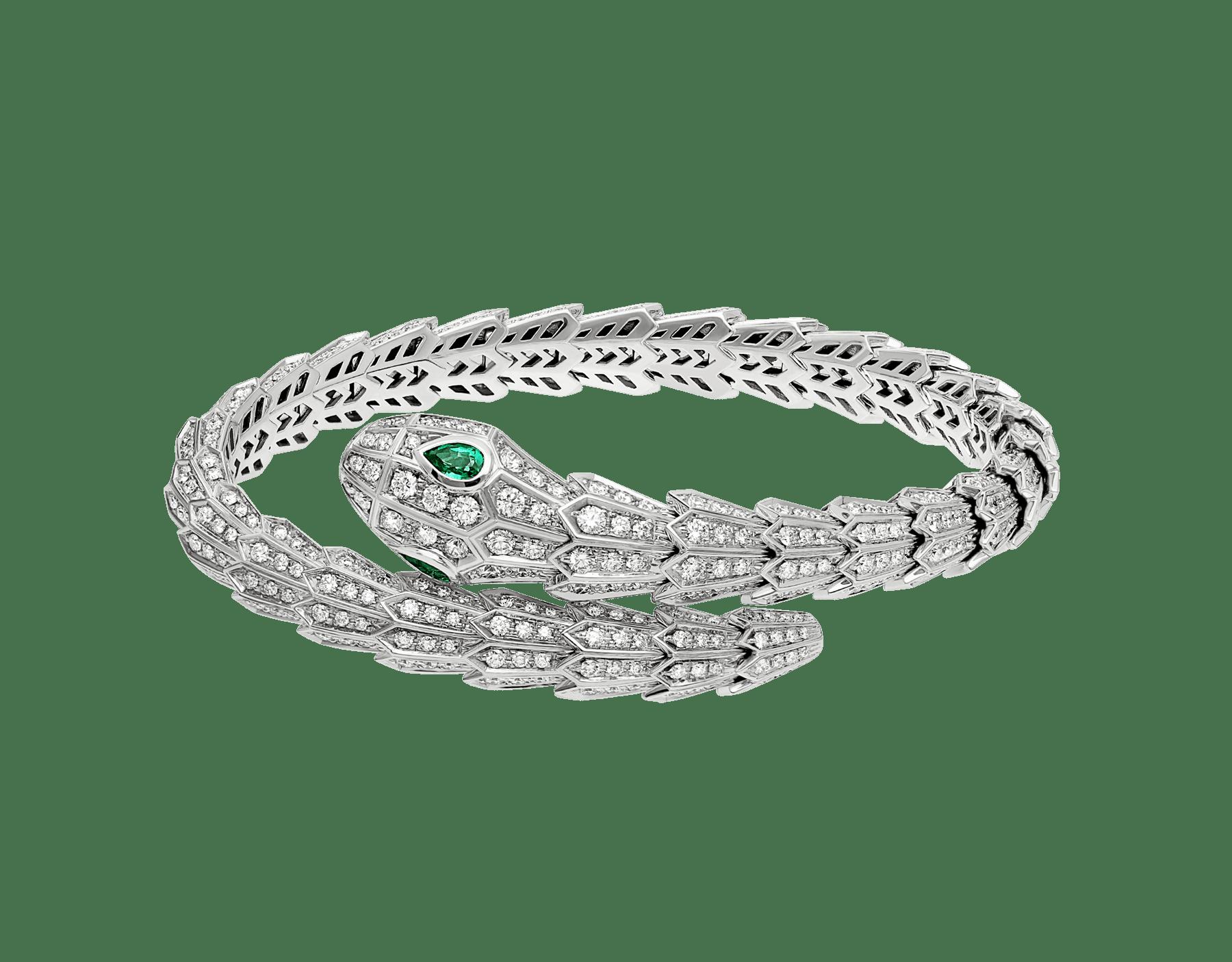 Serpenti Armband aus 18 Karat Weißgold mit Diamant-Pavé und zwei Augen aus Smaragden BR858734 image 3