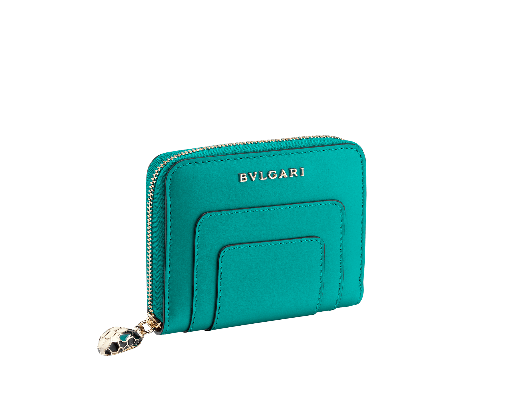 Serpenti Forever mini zipped wallet in tropical tourquoise and deep jade calf leather. Iconic snakehead zip puller in black and white enamel, with green enamel eyes. 288010 image 1