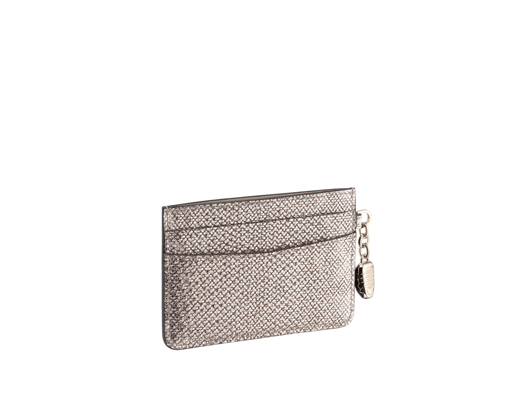 """Serpenti Forever"" card holder in mint metallic karung skin. Iconic snakehead charm in black and white agate enamel, with black enamel eyes. SEA-CC-HOLDER-MK image 2"