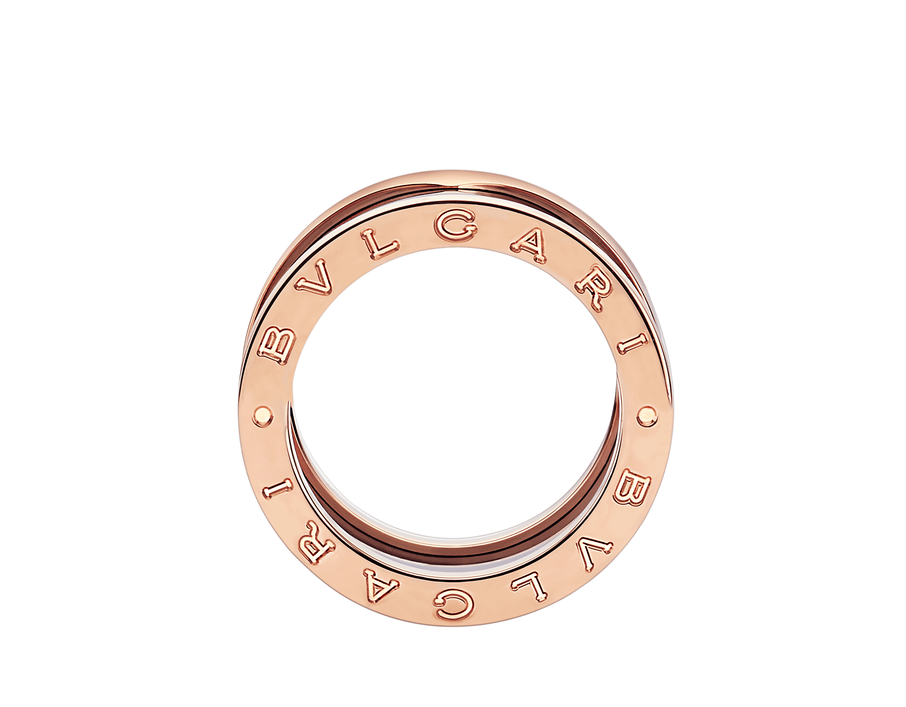 B.zero1 four-band ring with two 18 kt rose gold loops and a black ceramic spiral. B-zero1-4-bands-AN855563 image 2