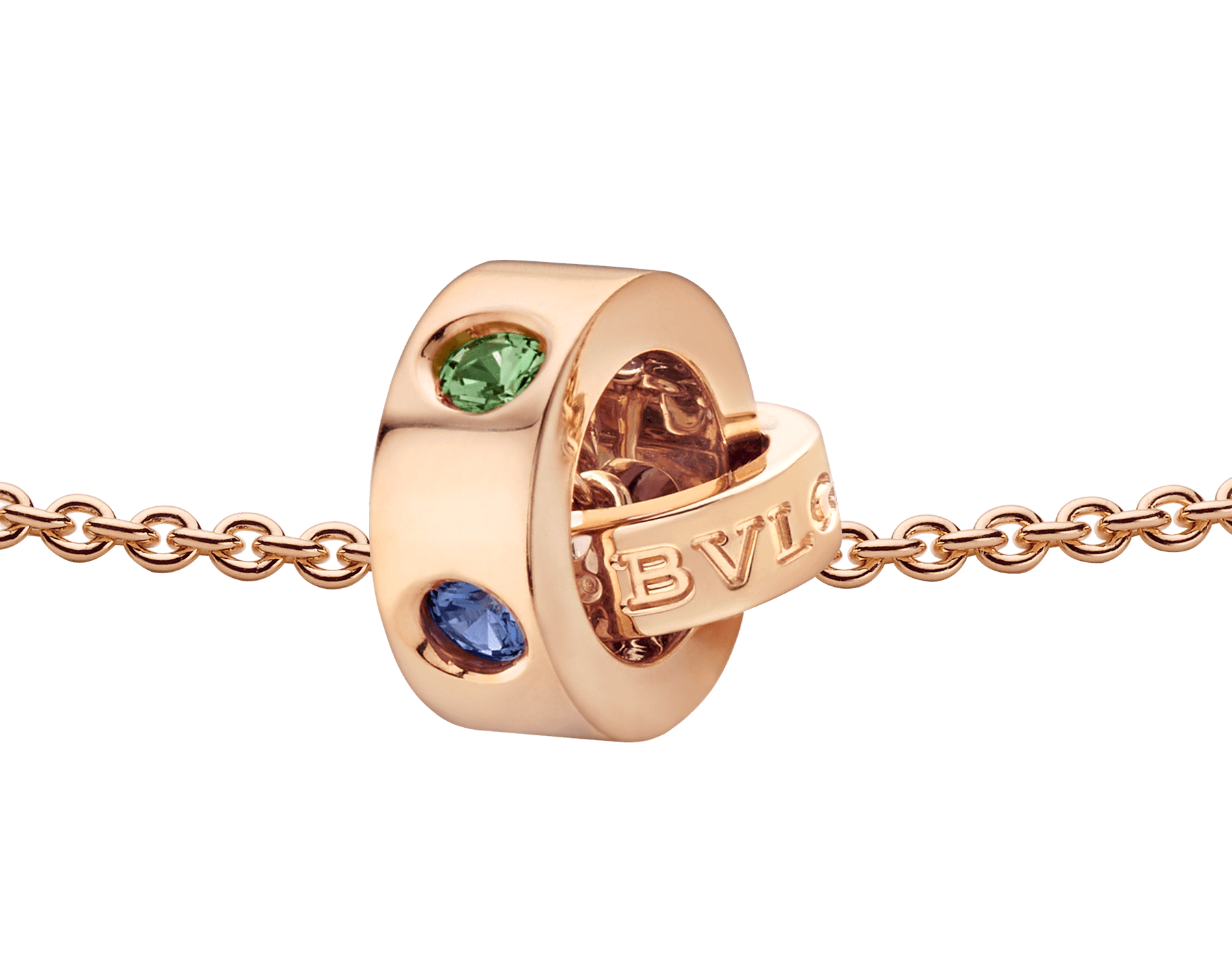 BVLGARI BVLGARI necklace with 18 kt rose gold chain and 18 kt rose gold pendant set with blue sapphires and tsavorites 352619 image 3