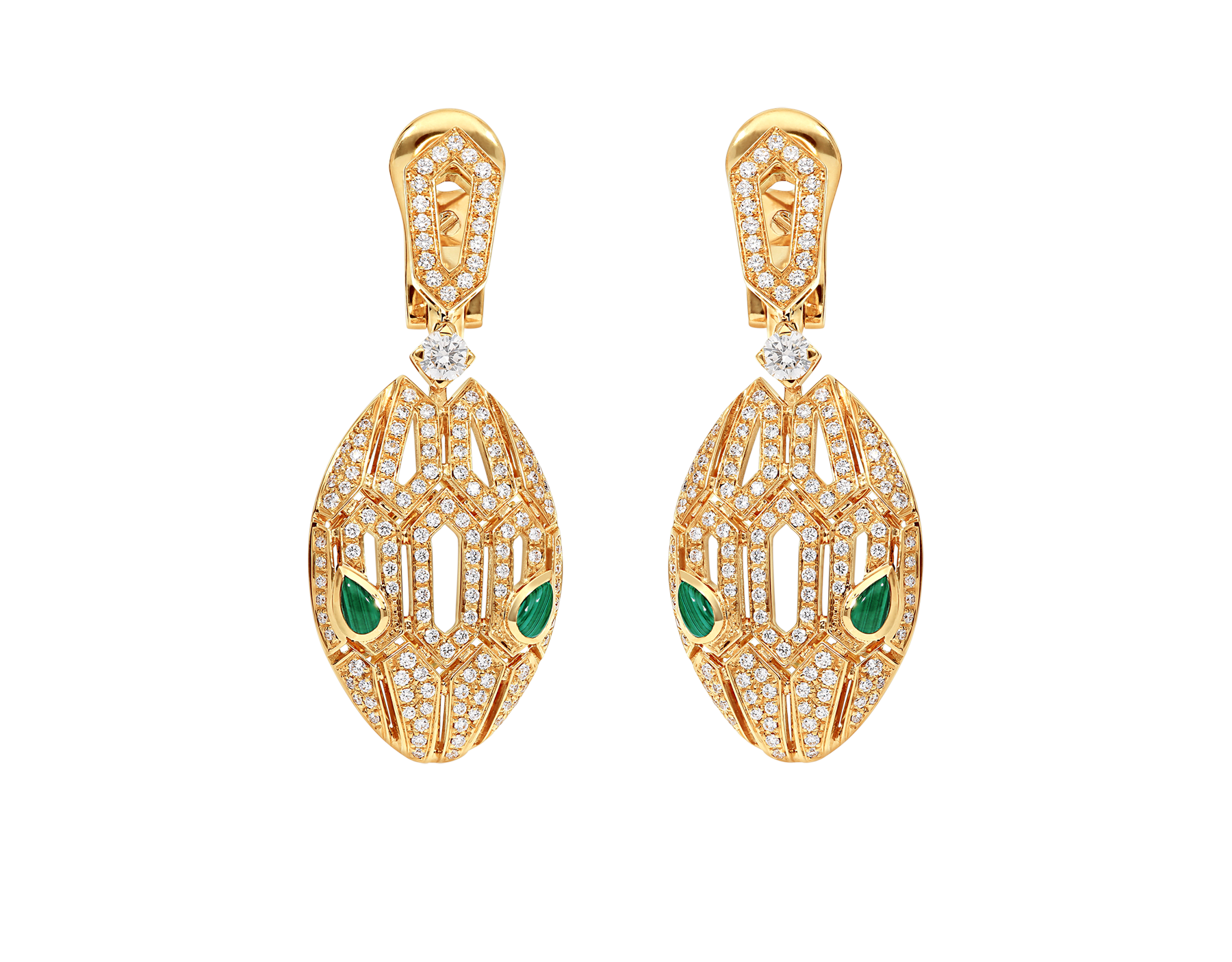 Boucles d'oreilles Serpenti en or jaune 18 K, yeux en malachite et pavé diamants 354576 image 1