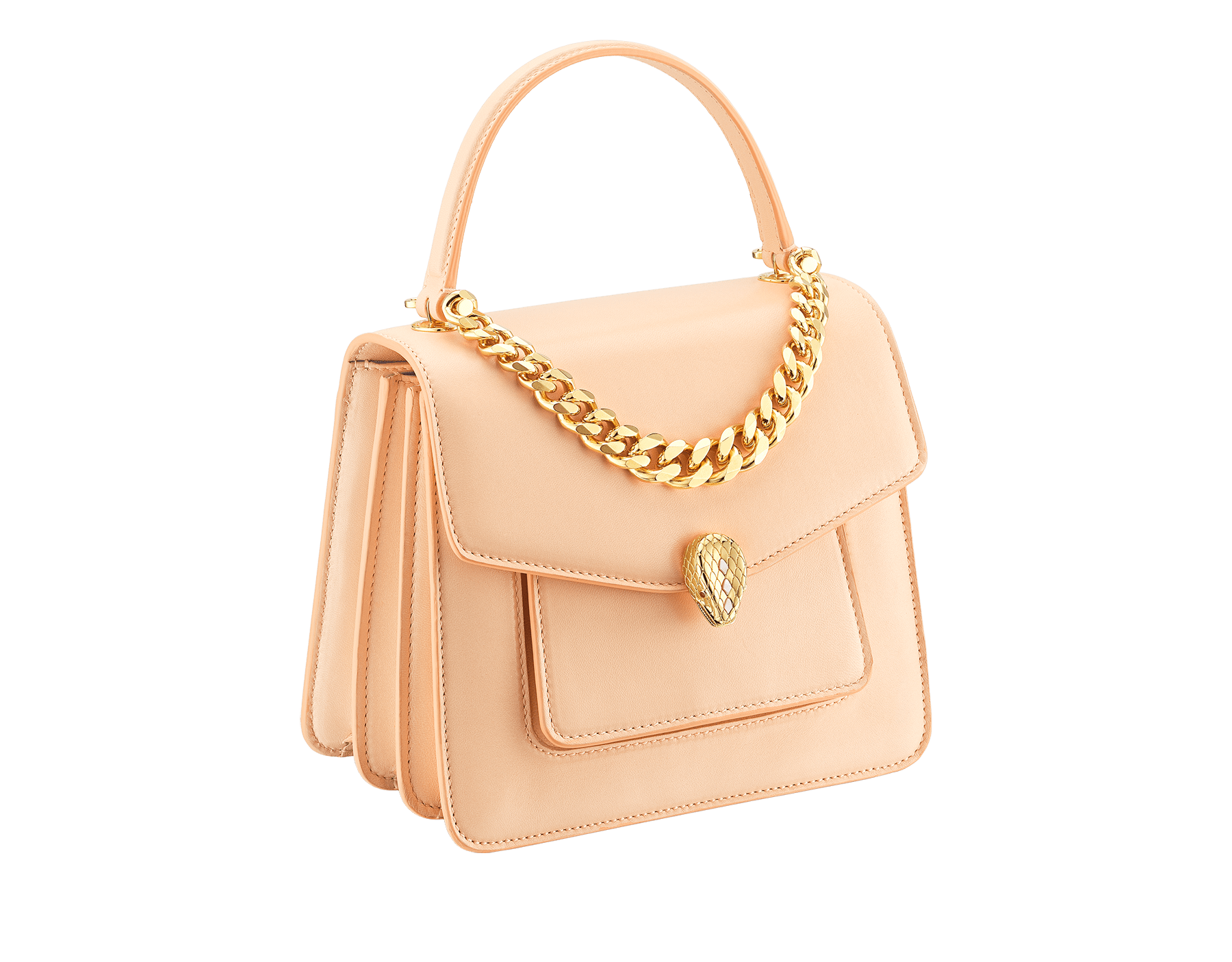 """""""Serpenti Forever"""" small maxi chain top handle bag in peach nappa leather, with Lavender Amethyst lilac nappa leather inner lining. New Serpenti head closure in gold-plated brass, finished with small pink mother-of-pearl scales in the middle and red enamel eyes. 1133-MCN image 2"""