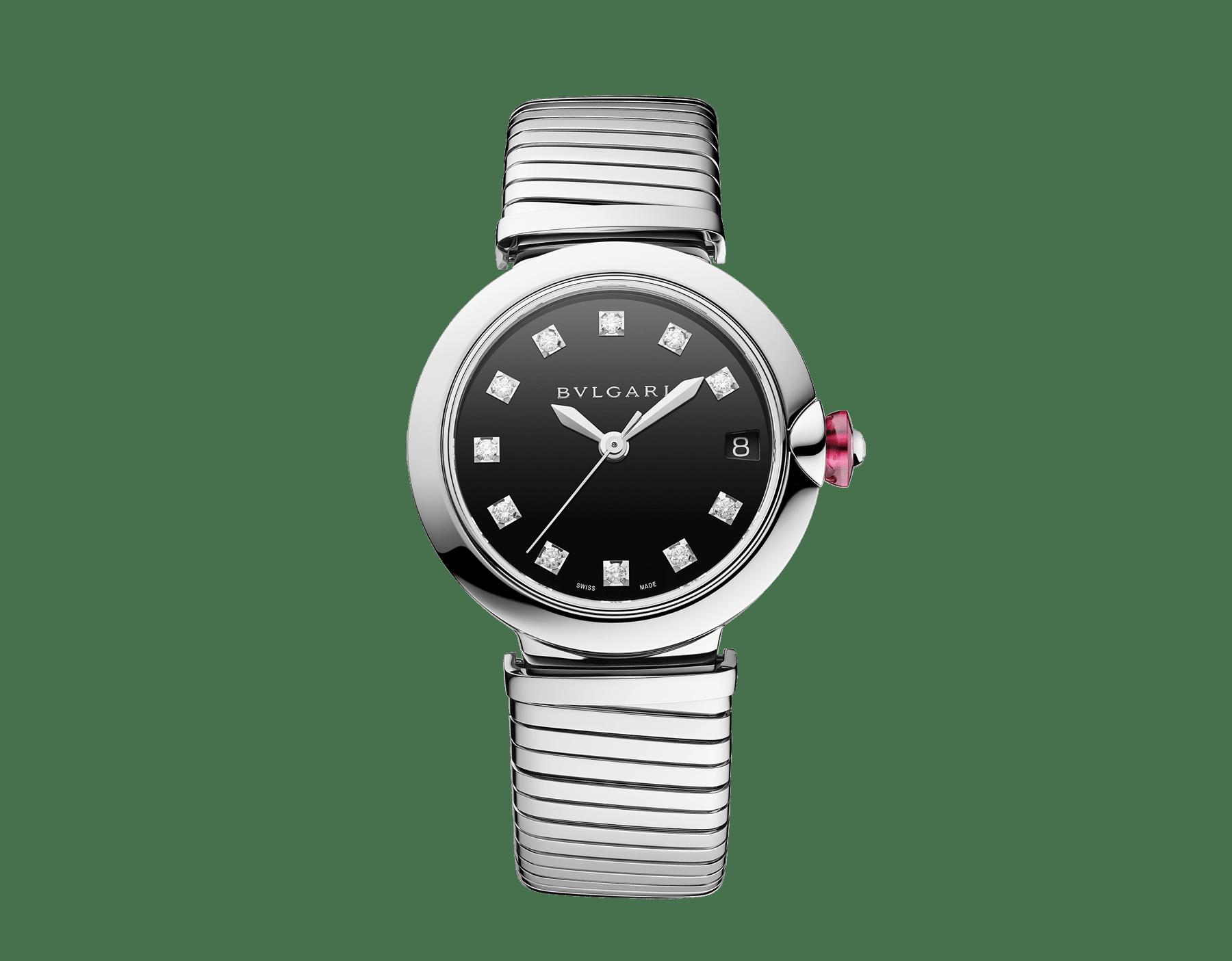 Montre LVCEA Tubogas avec boîtier et bracelet Tubogas en acier inoxydable, cadran laqué noir et index sertis de diamants 102953 image 1