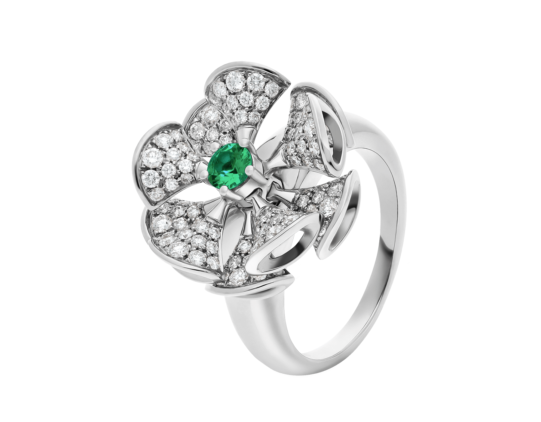 DIVAS' DREAM ring in 18 kt white gold, set with a central emerald and pavé diamonds. AN857988 image 1