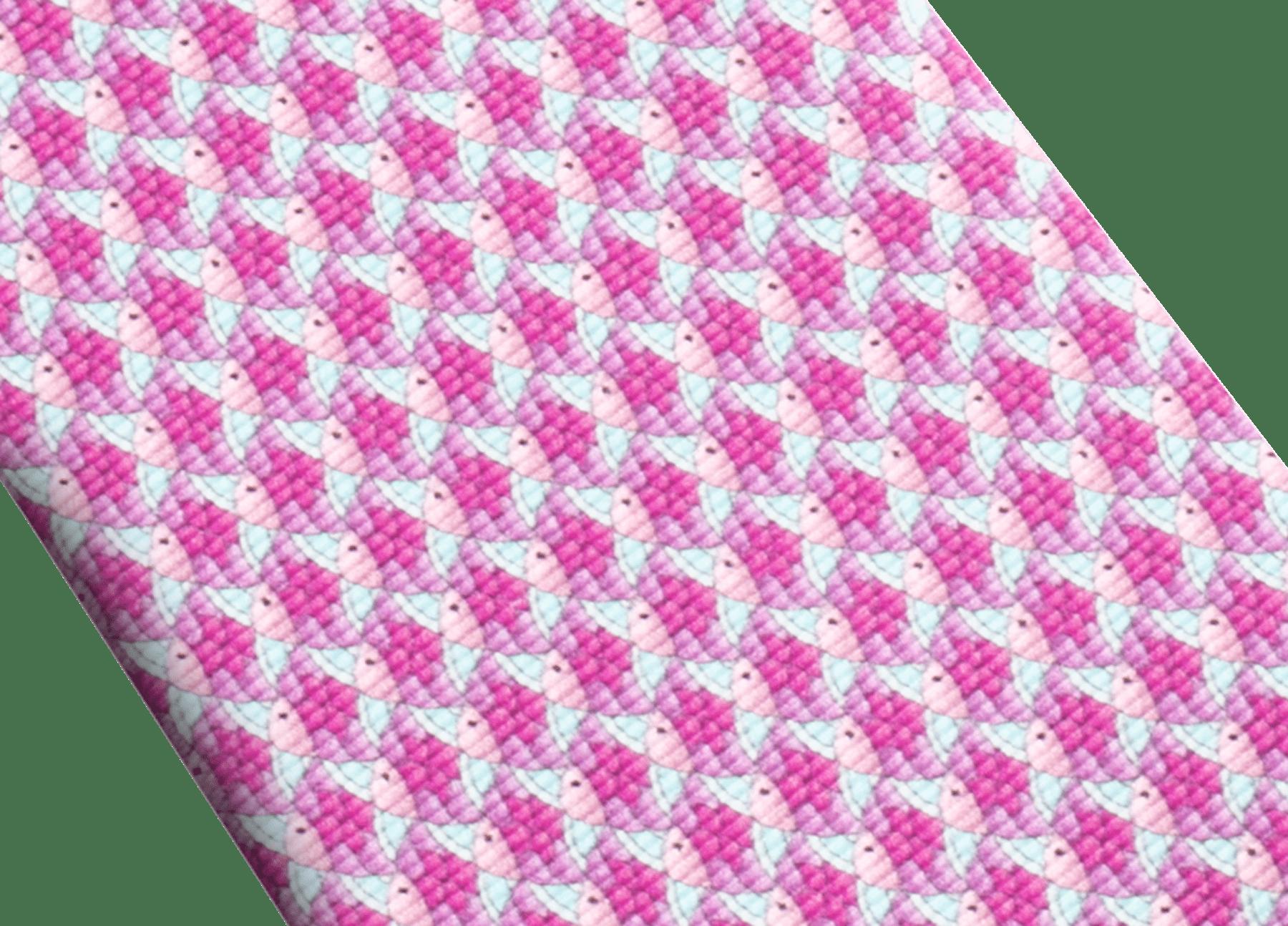 Purple Fish Divine pattern seven-fold tie in fine saglione printed silk. 244153 image 2