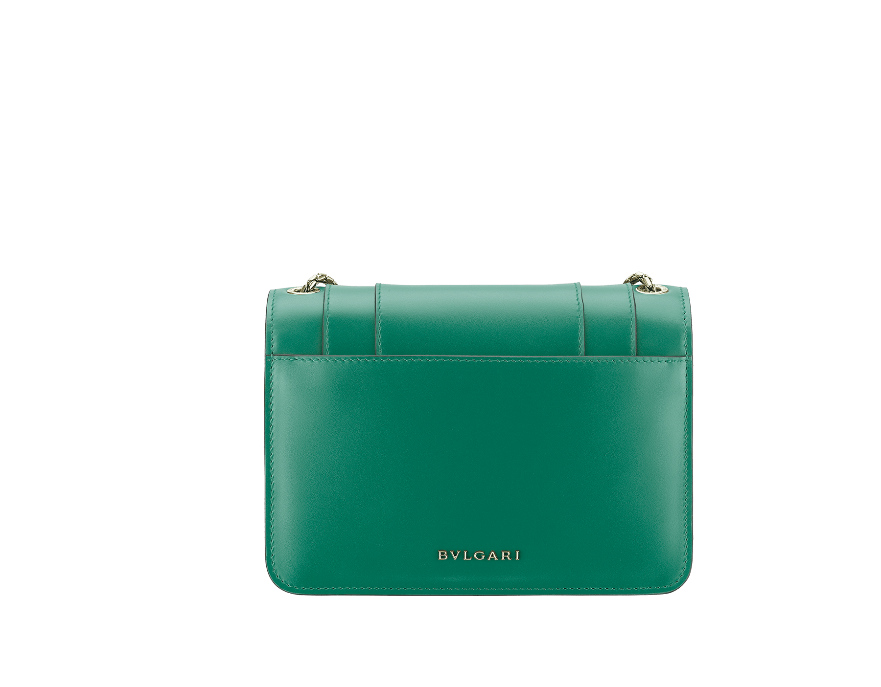 """Serpenti Forever"" crossbody bag in emerald green calf leather. Iconic snake head closure in light gold-plated brass enhanced with black and white agate enamel and green malachite eyes. 1082-CLa image 3"
