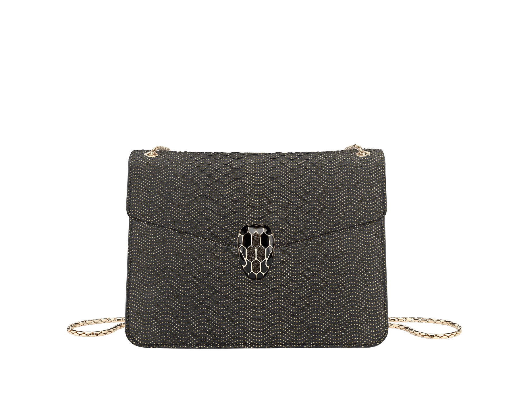 """""""Serpenti Forever"""" crossbody bag in black Fil Coupé python skin. Iconic snakehead closure in light rose gold plated brass enriched with glitter bronze and shiny black enamel and green malachite eyes 287322 image 1"""