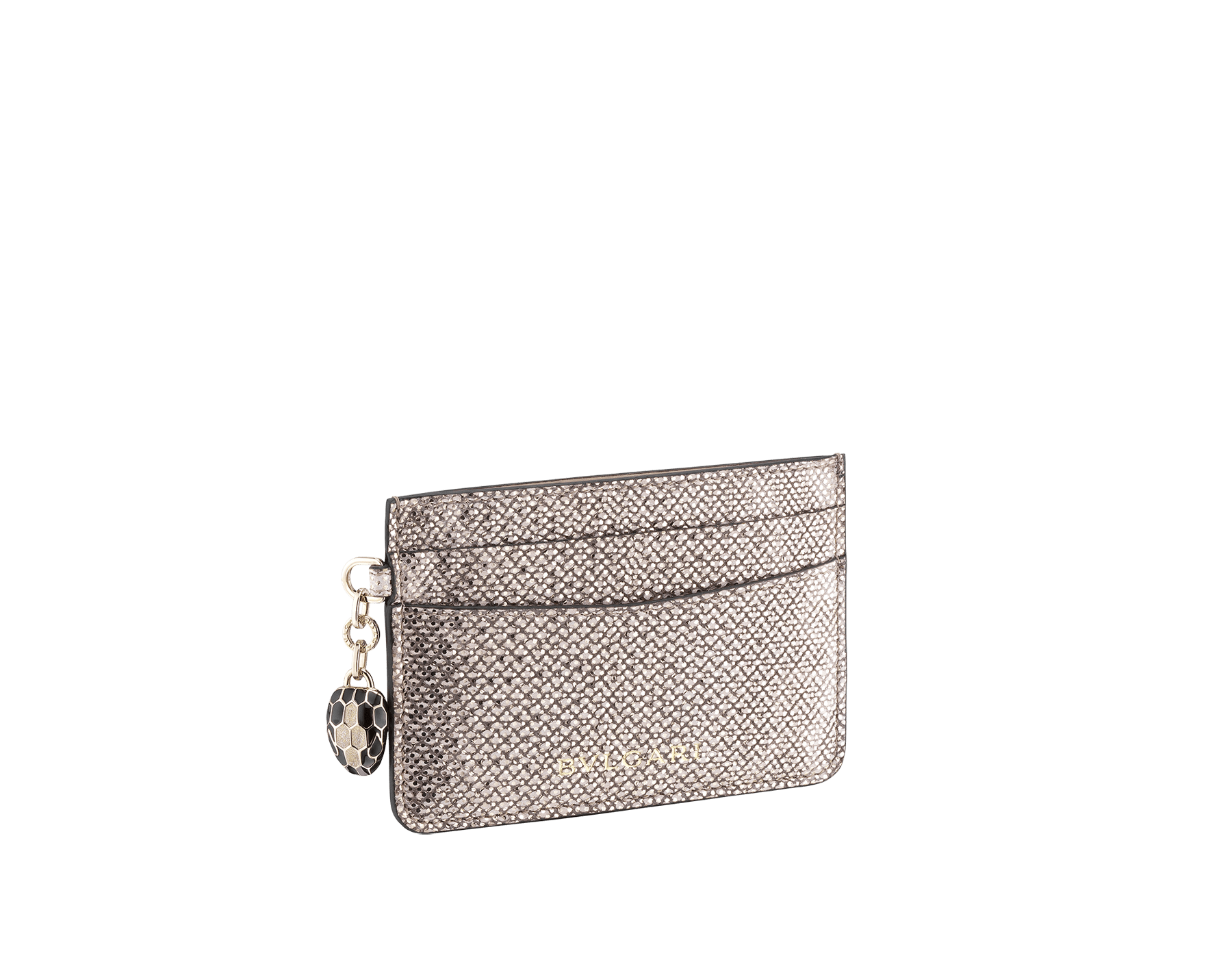 """Serpenti Forever"" card holder in mint metallic karung skin. Iconic snakehead charm in black and white agate enamel, with black enamel eyes. SEA-CC-HOLDER-MK image 1"