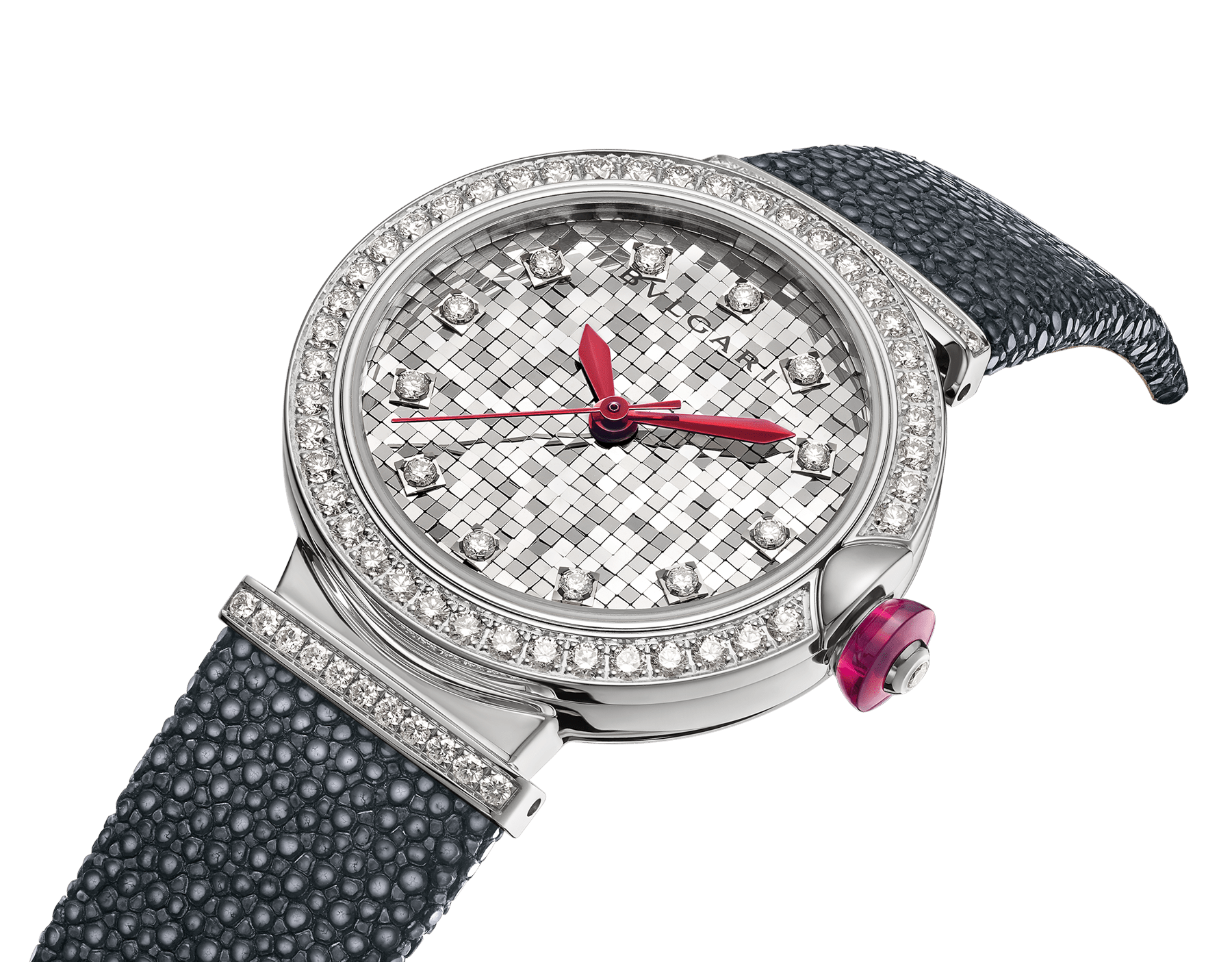 LVCEA watch with 18 kt white gold case set with diamonds, 18 kt white gold mosaic dial and black galuchat bracelet. 102830 image 2