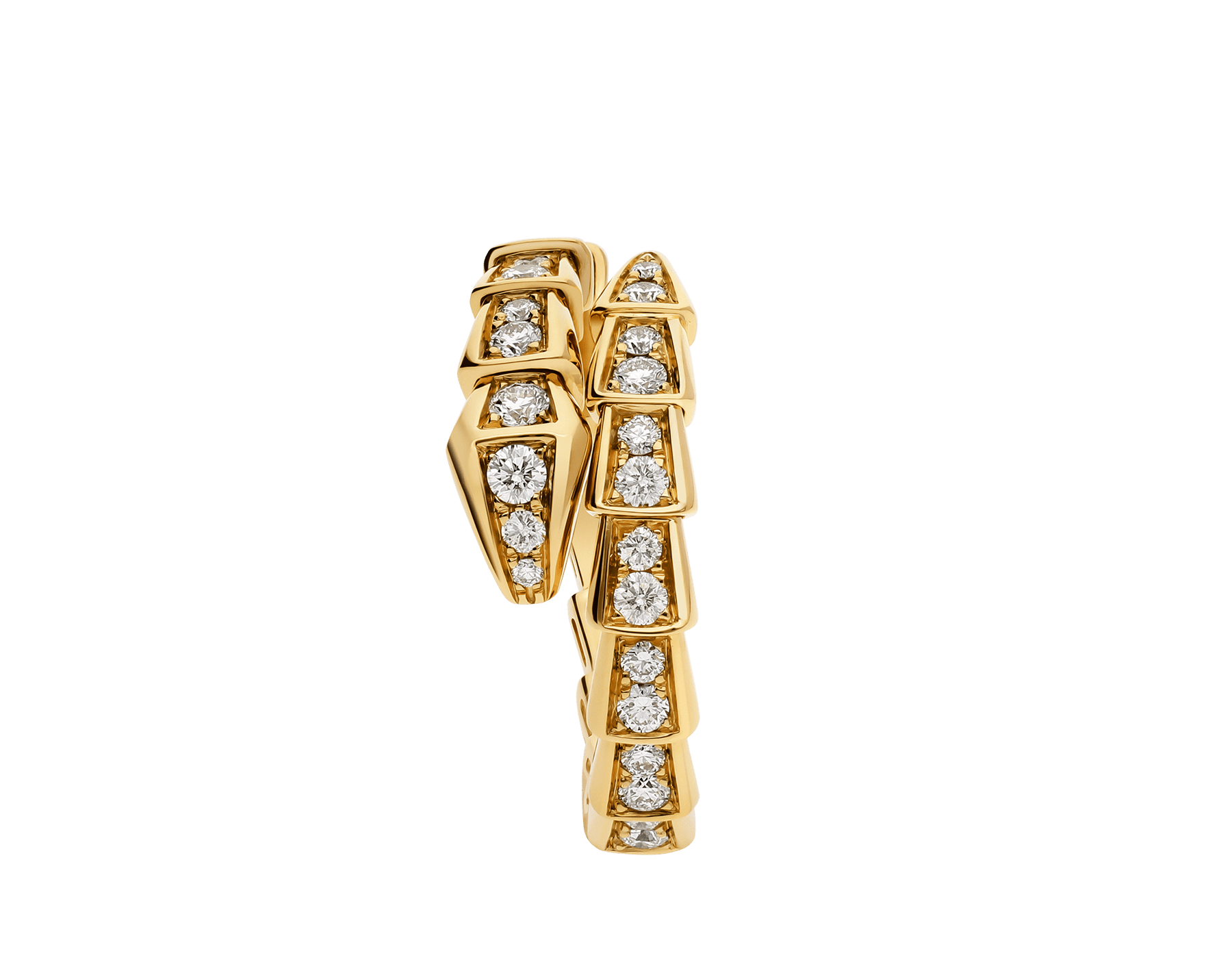 Serpenti Viper 18 kt yellow gold ring with pavé diamonds AN858981 image 2